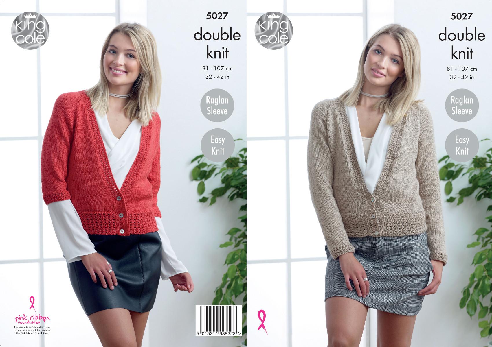 5594aeededcb King Cole Ladies Double Knitting Pattern Easy Knit V Neck Raglan ...