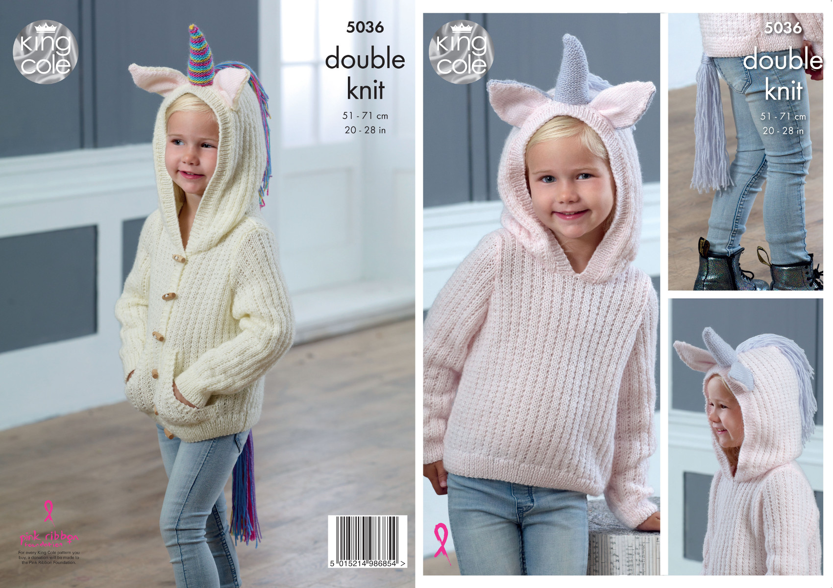 269213cc3 Details about King Cole Girls Double Knitting Pattern Hooded Unicorn Sweater    Cardigan 5036