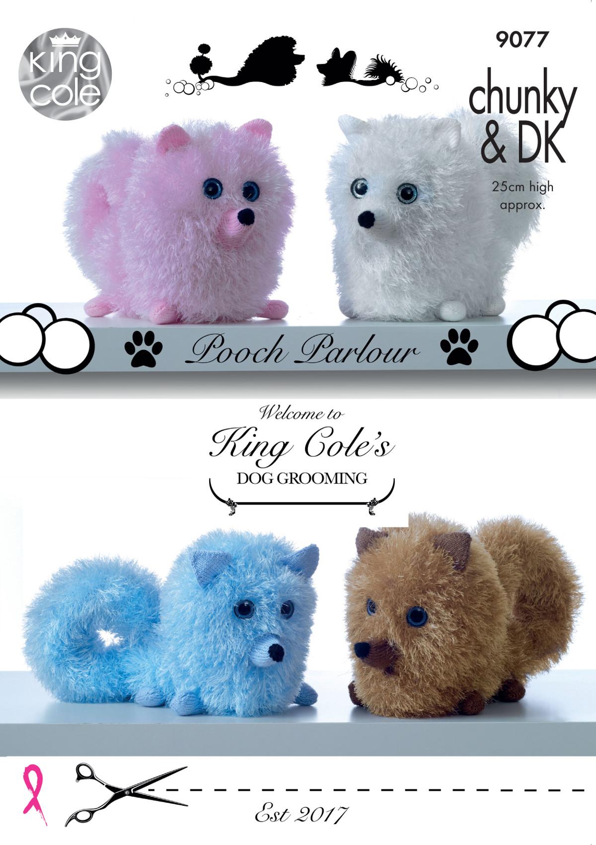 King Cole Tinsel Chunky DK Knitting Pattern Pomeranian Dogs Pooch ...