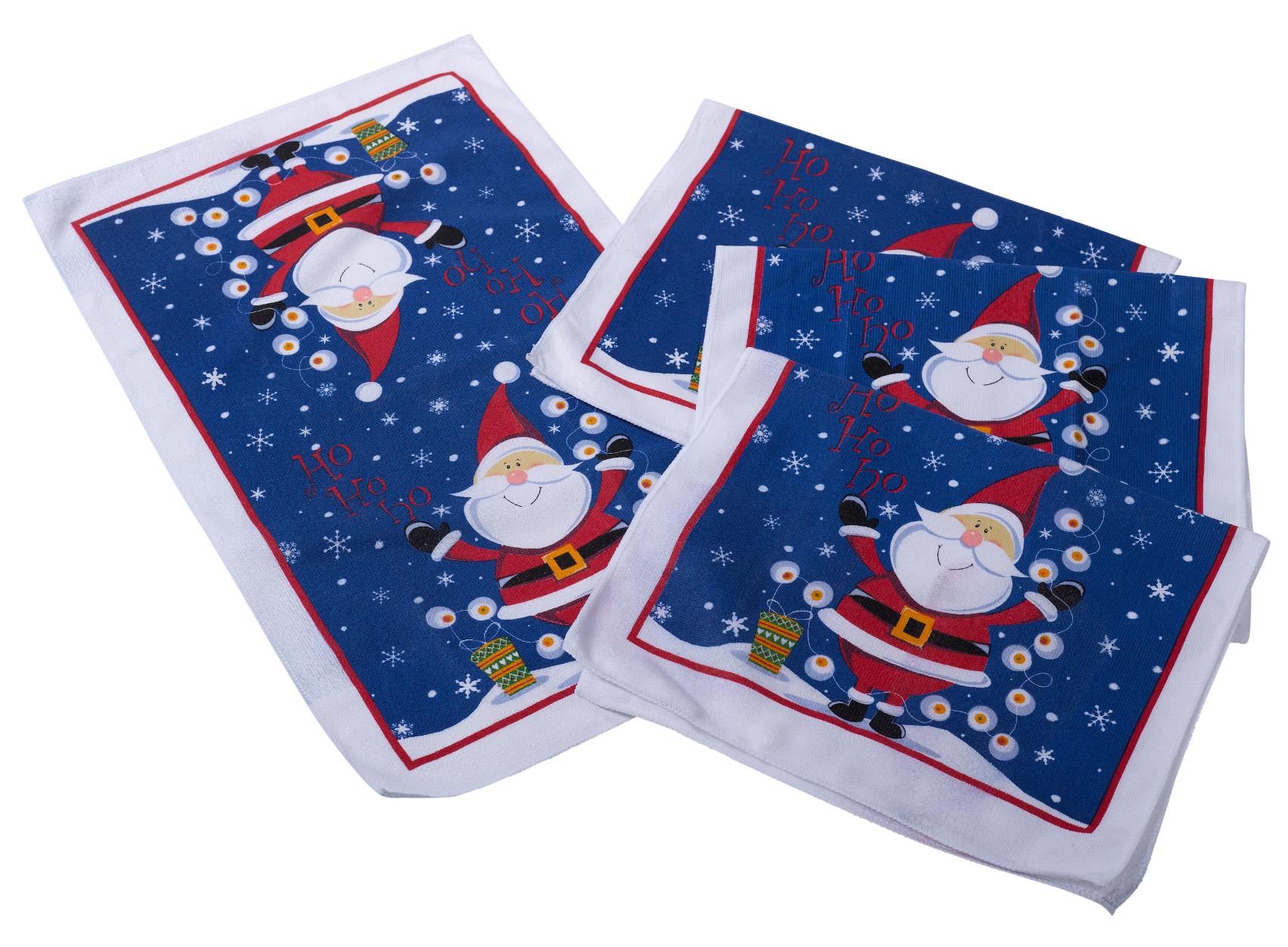 4er packung festliche weihnachtsmann tee handt cher. Black Bedroom Furniture Sets. Home Design Ideas
