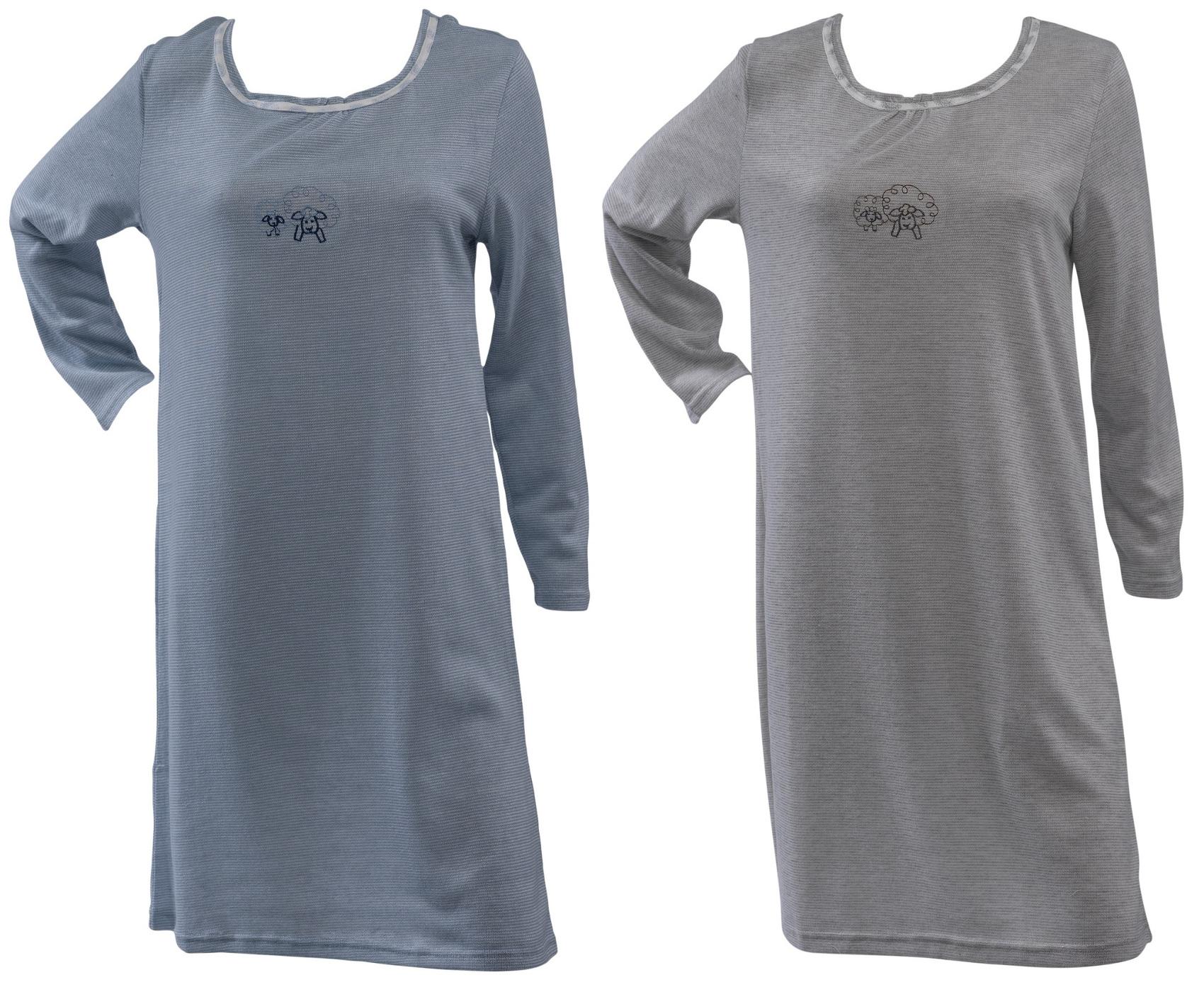 Long Sleeve Cotton Knit Nightshirt - BCD Tofu House d9e9c2967