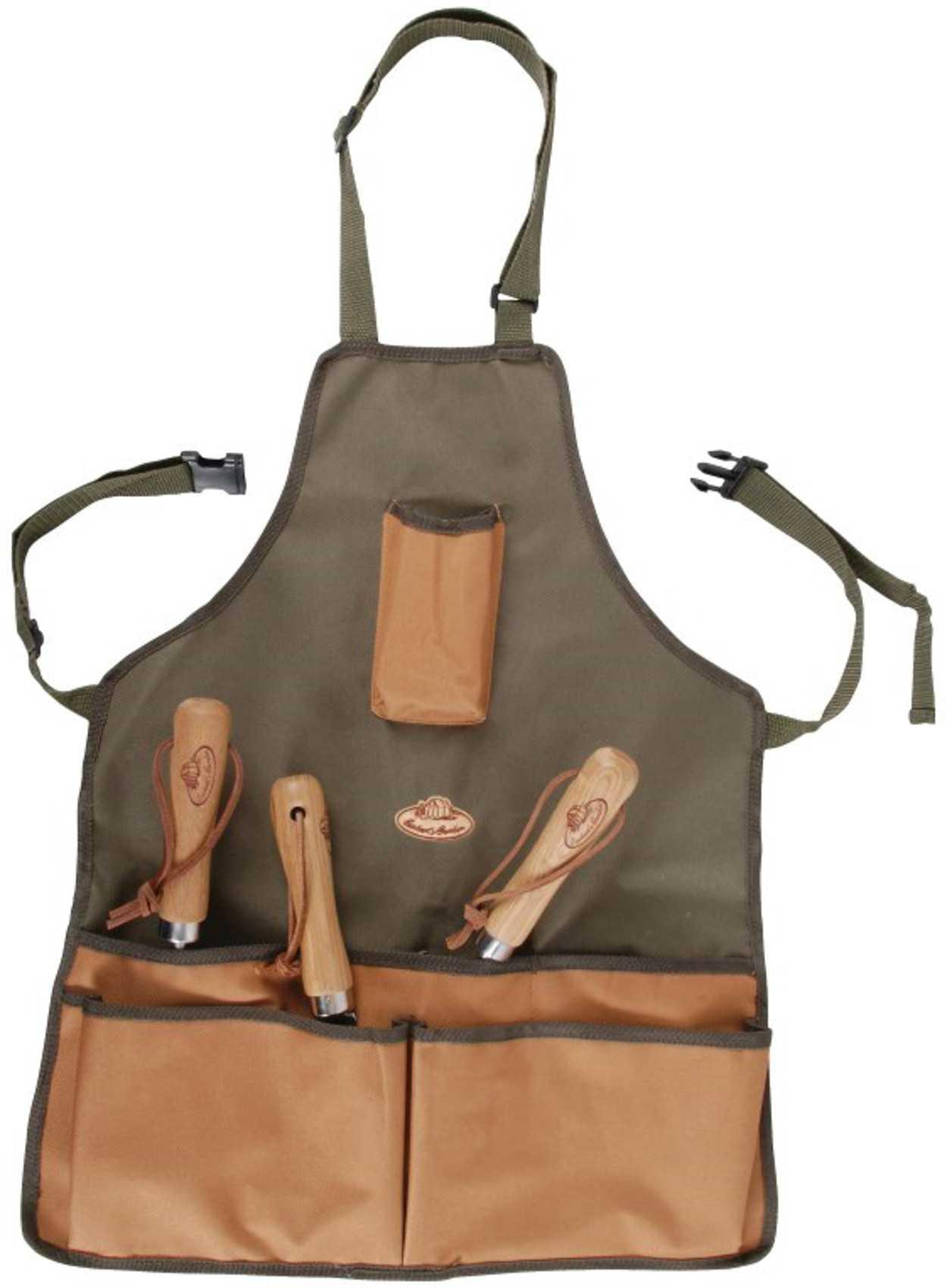 Khaki & Brown Gardening Set Tool Stool Kneeling Pad & 5 Pocket Apron ...