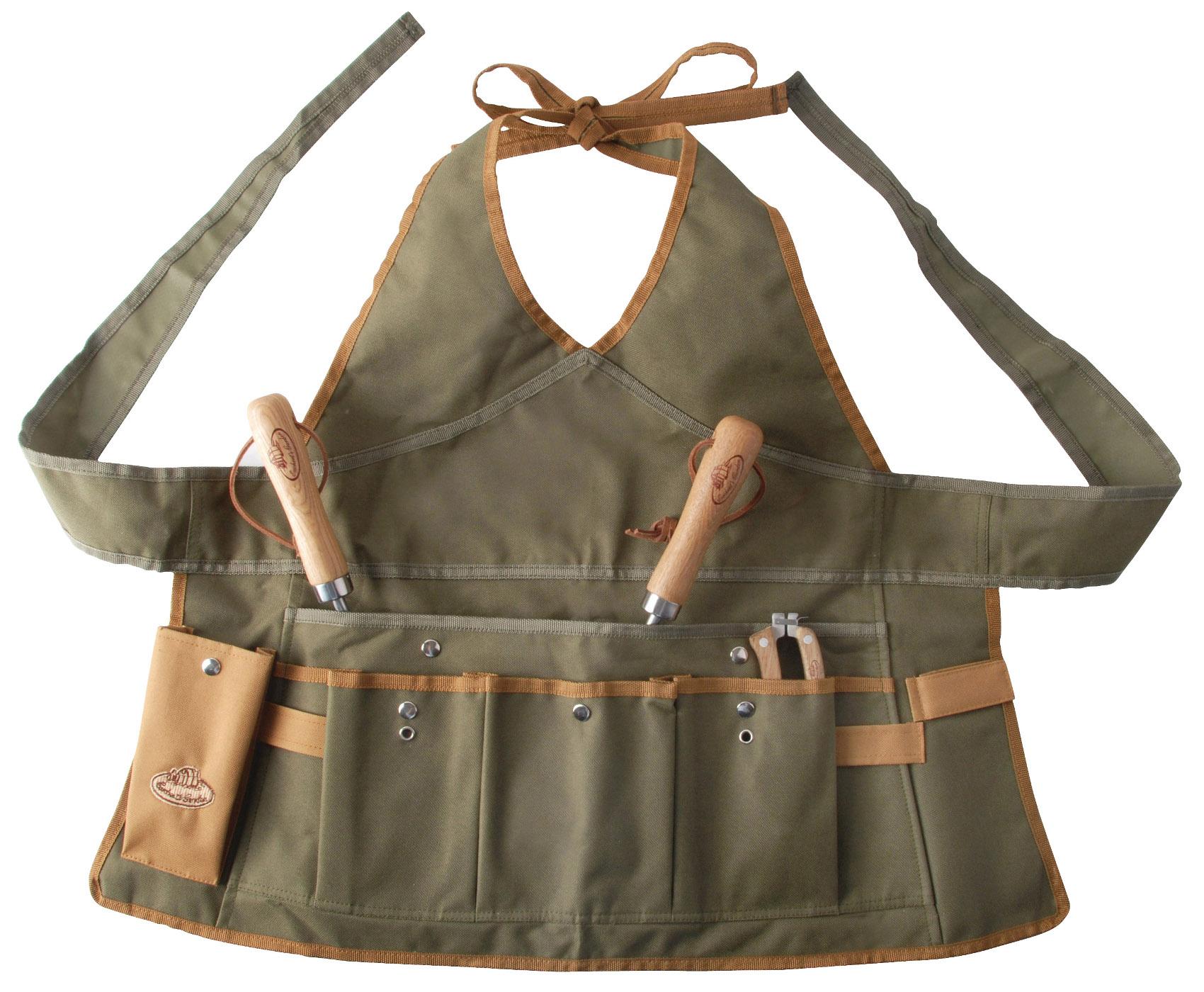 Khaki & Brown Gardening Set Tool Stool Kneeling Pad & Womens Apron ...