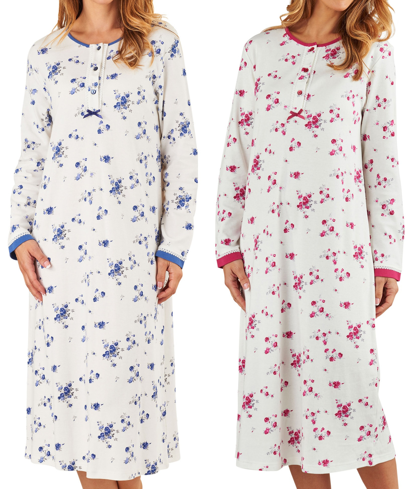 Nightdress Womens Long Sleeved Floral 100% Jersey Cotton Nightie Slenderella fc66895ed