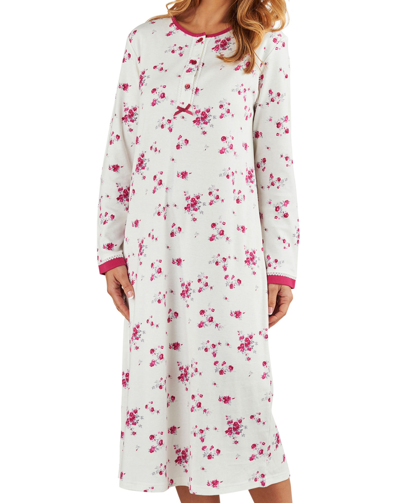 Nightdress Womens Long Sleeved Floral 100% Jersey Cotton Nightie Slenderella 5ca83f8b67