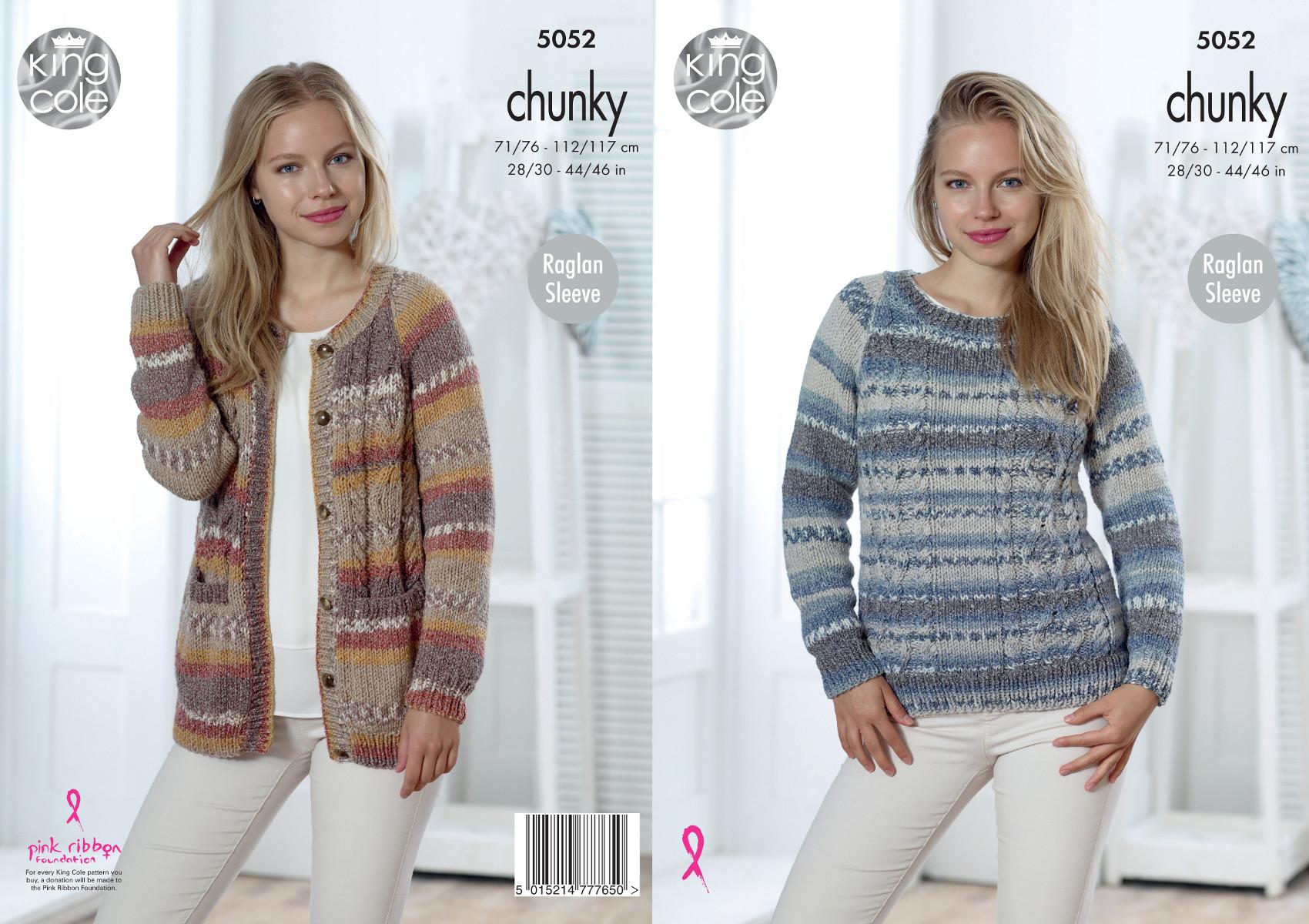 Details about King Cole Ladies Chunky Knitting Pattern Raglan Sleeve  Cardigan & Sweater 5052