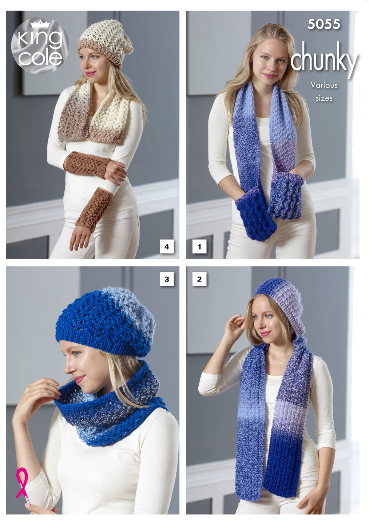 Women Knitting Pattern Chunky Winter Accessories Hat Scarf Cowl King