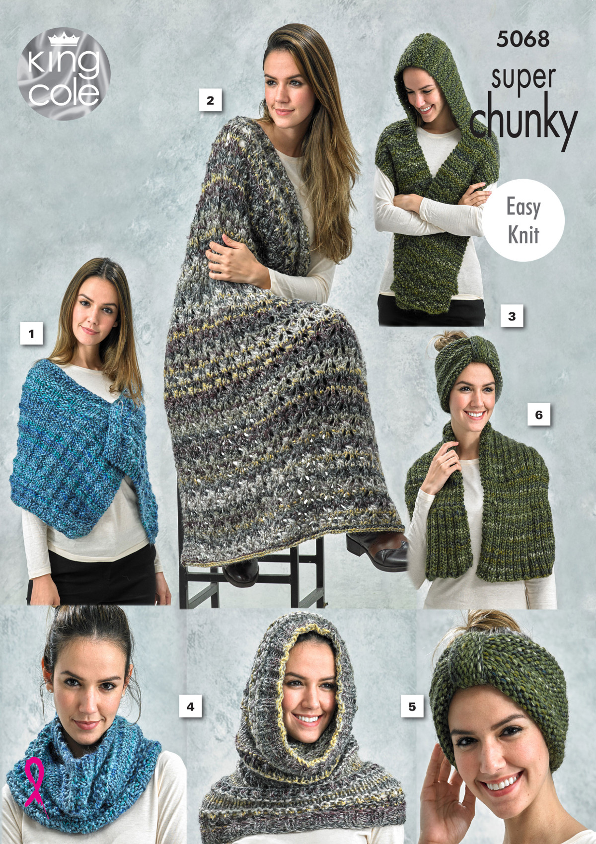 King Cole Ladies Super Chunky Knitting Pattern Easy Knit Wrap ...