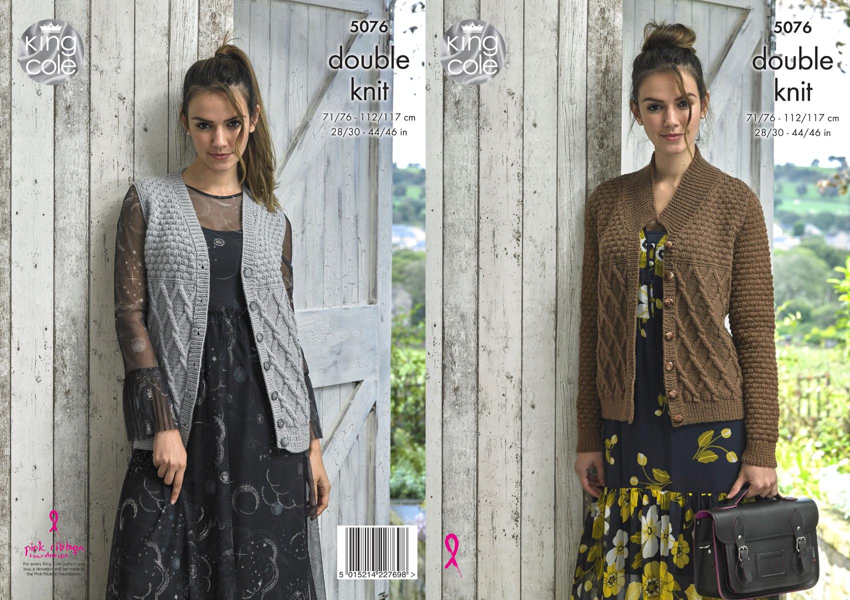 Easy Knit Womens Double Knitting Pattern Cardigan /& Waistcoat King Cole DK 4855