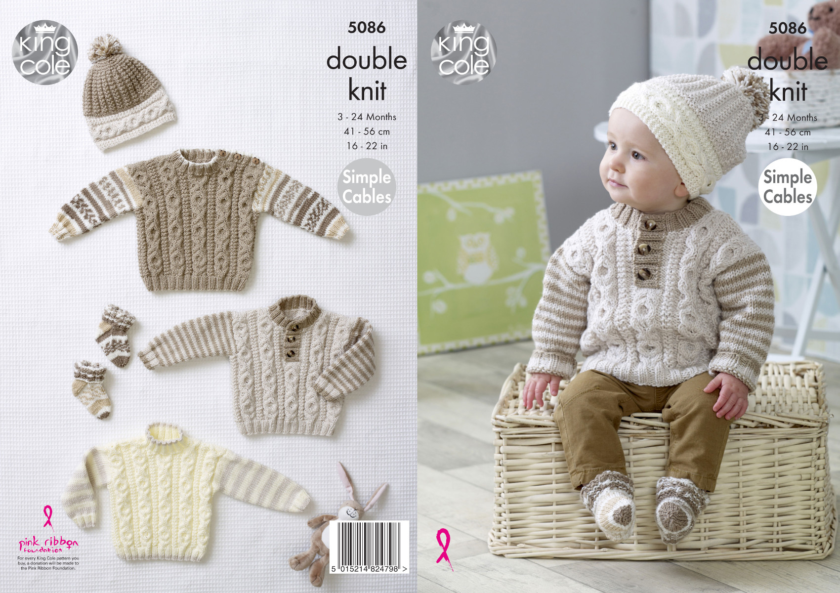 eac159e03433 Baby DK Double Knitting Pattern Simple Cable Jumpers Hats   Socks ...