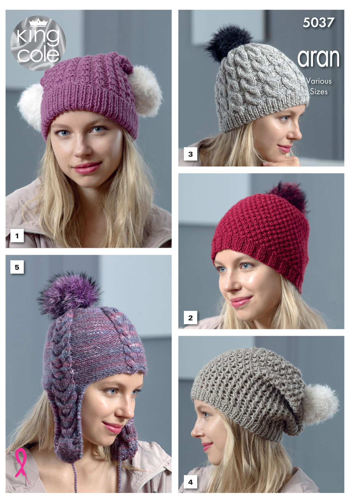 King Cole Womens Aran Chunky Knitting Pattern Ladies Winter Hats ...