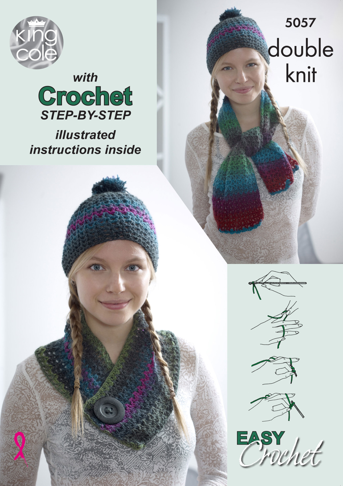 King Cole Ladies Step by Step Easy Crochet Pattern Scarf Hat & Cowl ...
