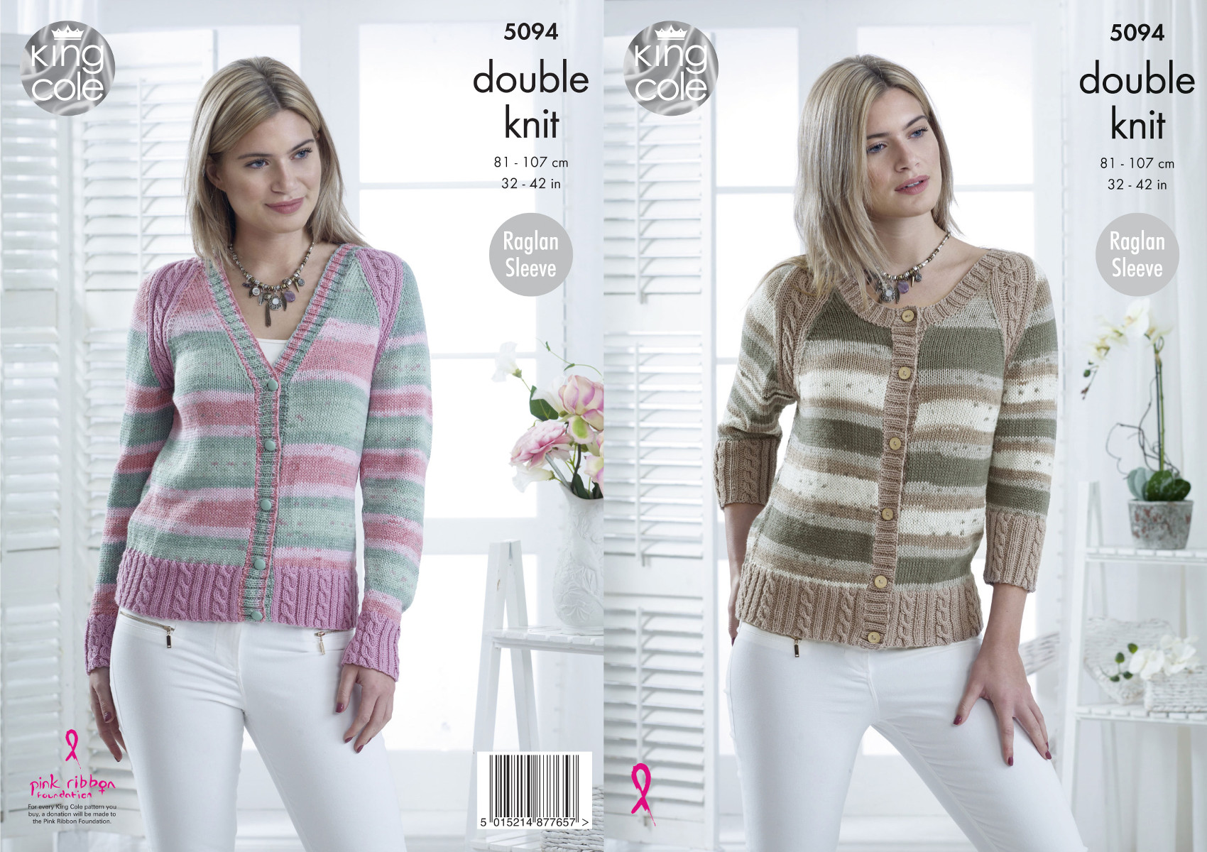 King Cole Ladies Double Knitting Pattern Raglan Sleeve Cabled ...