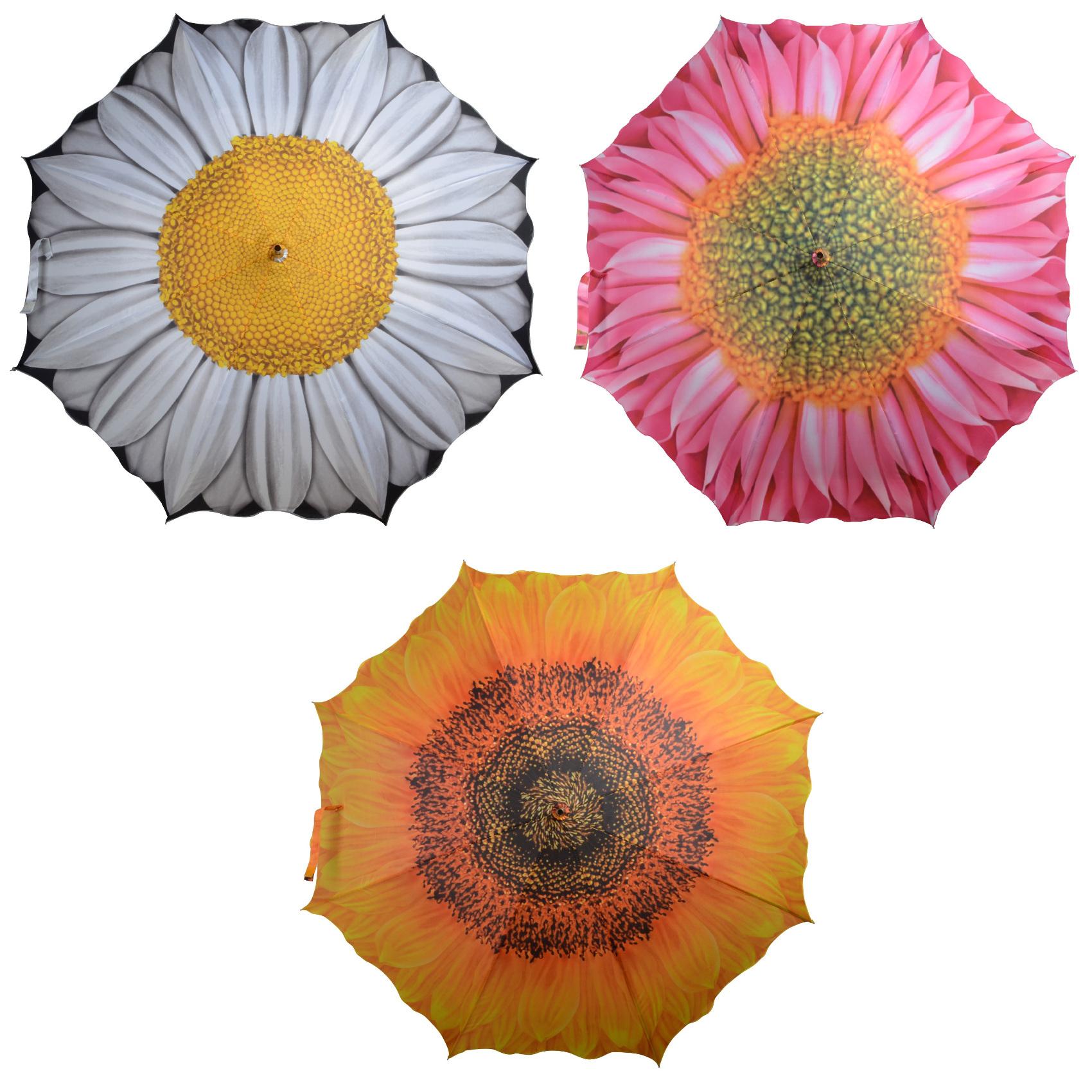 Floral Umbrella Nylon Daisy Sunflower Pink Gerbera Flower