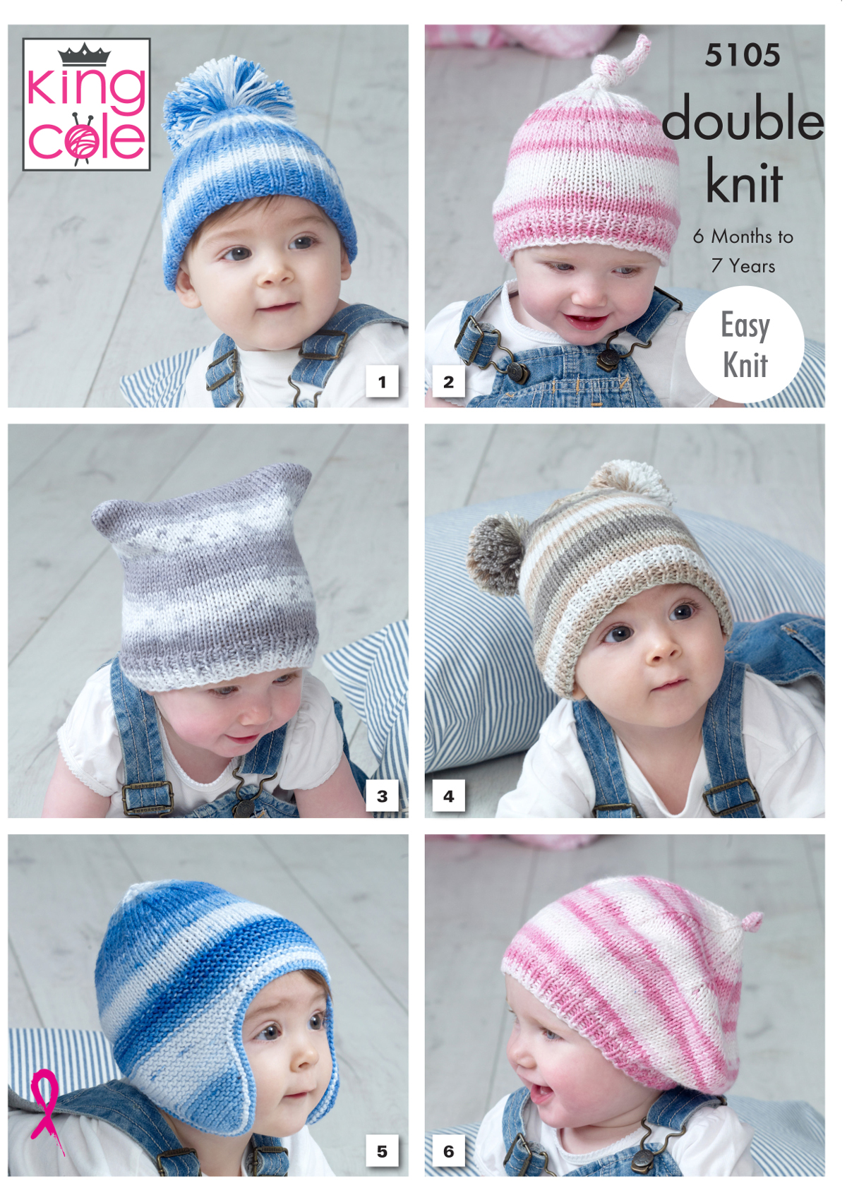 King Cole Baby Double Knitting Pattern Easy Knit Hats Helmet Beret