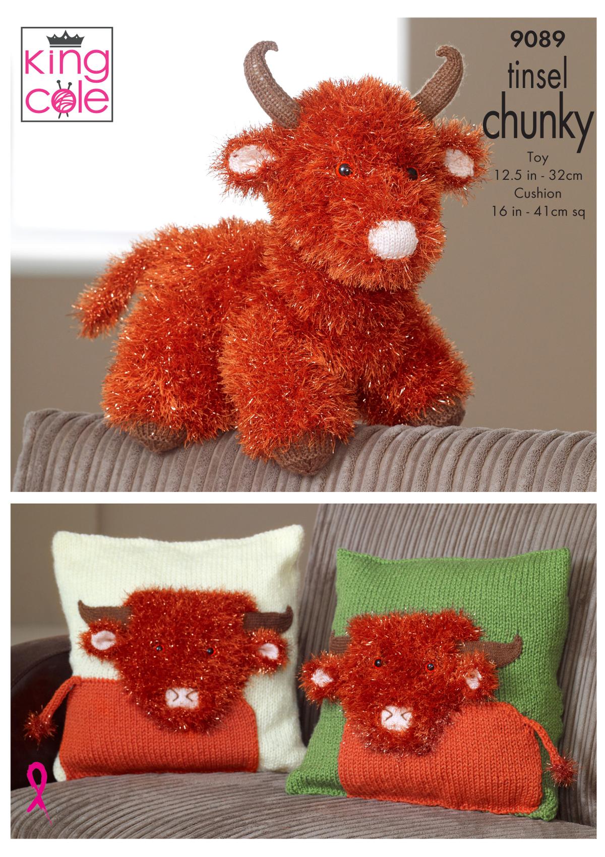 f0b4de1376c51 King Cole Tinsel Chunky Knitting Pattern Highland Cow Toy   Cushion ...
