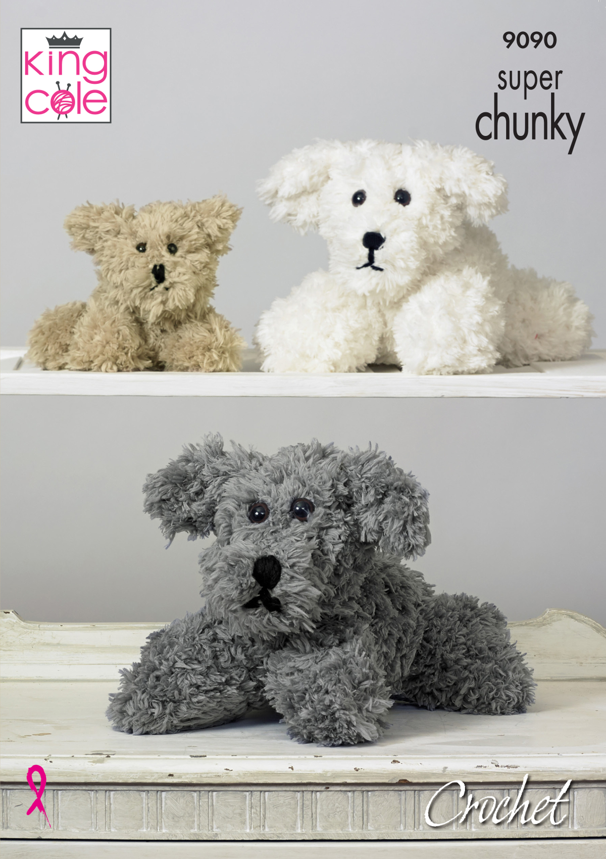 Tufty Small or Large Dog Family Toys Super Chunky Crochet Pattern King Cole 9090