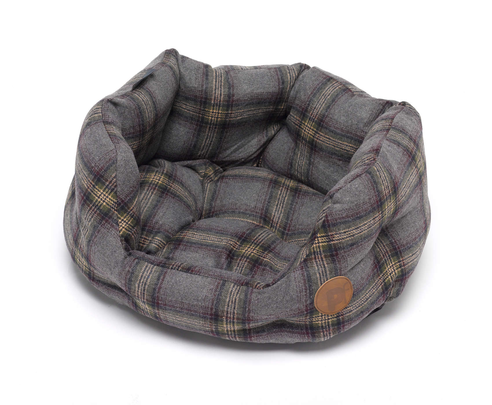 Petface Grey Tweed Check Oval Dog Bed