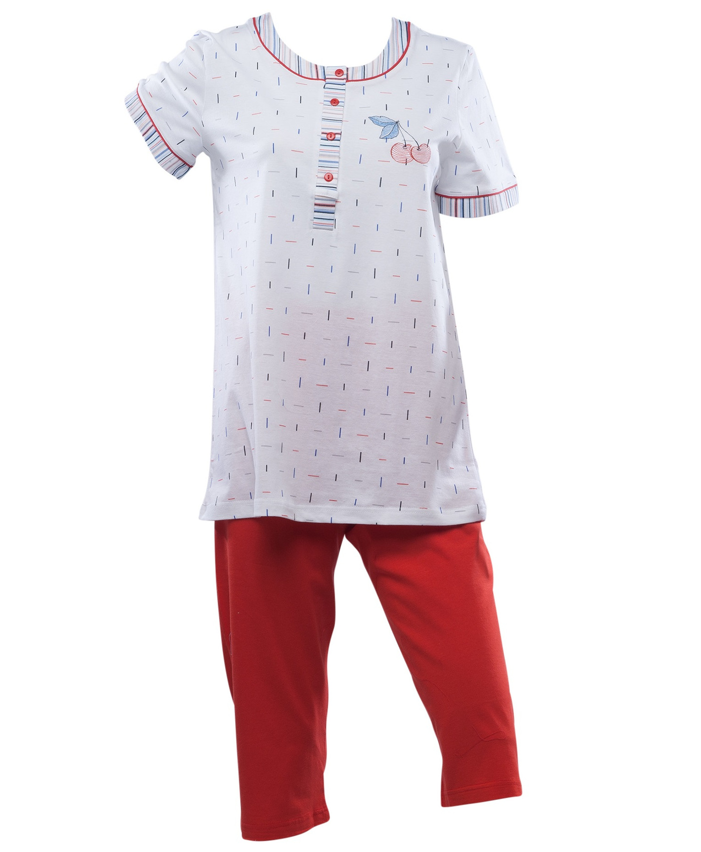 1bb9b07561e6 These ladies pyjama sets include a short sleeved top with striped detail  and a cherry motif on the chest and a pair of 3 4 length plain bottoms.