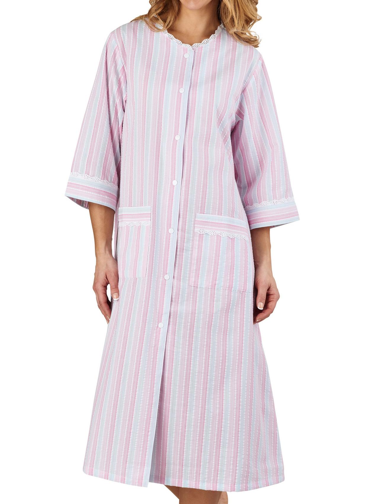 Bathrobe Easy Button Poppers Womens Seersucker Stripe Lace Trim ...