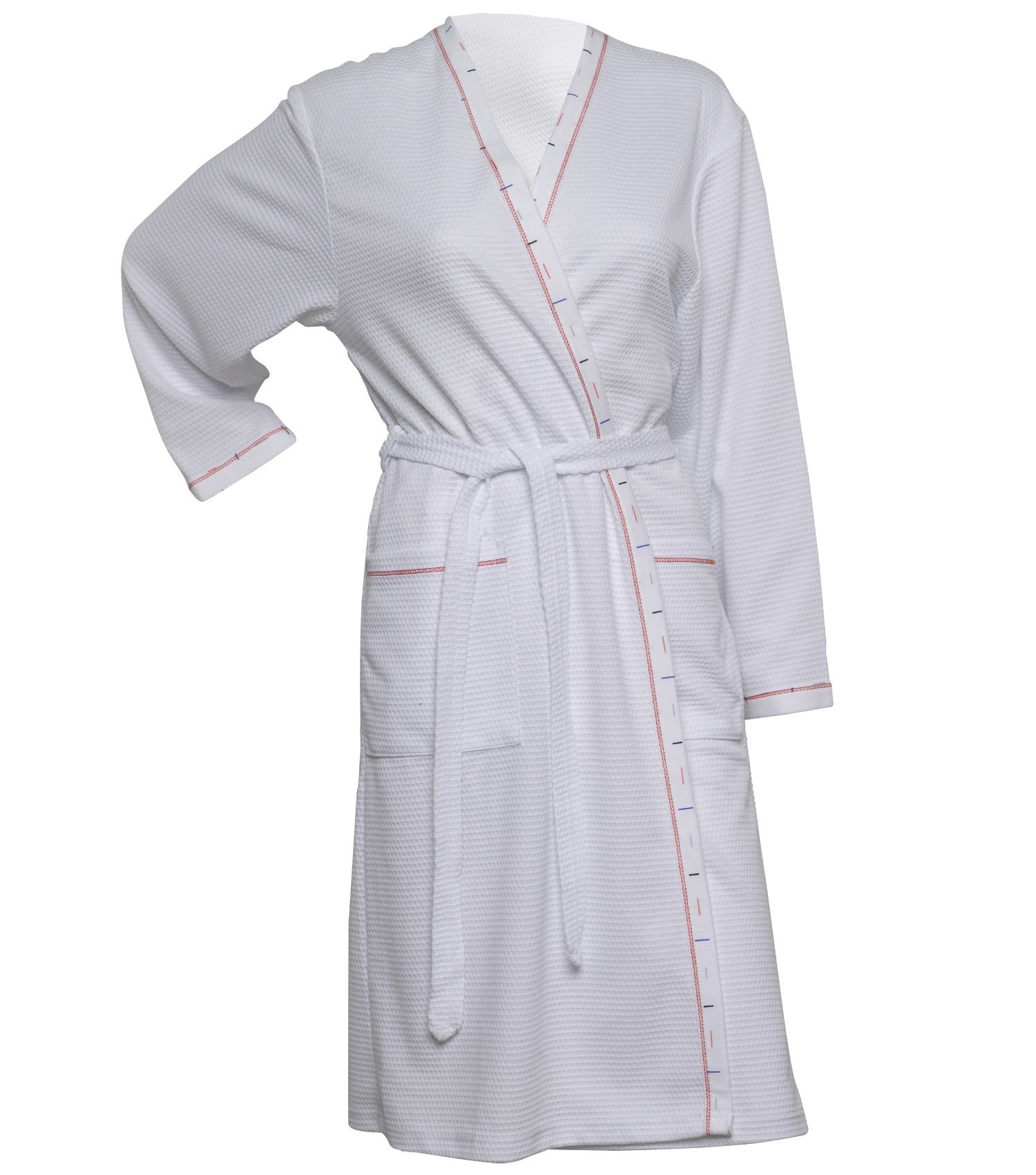 eec6df696c These ladies lightweight dressing gowns have a waffle pattern throughout  with a line pattern trim and red stitching detail