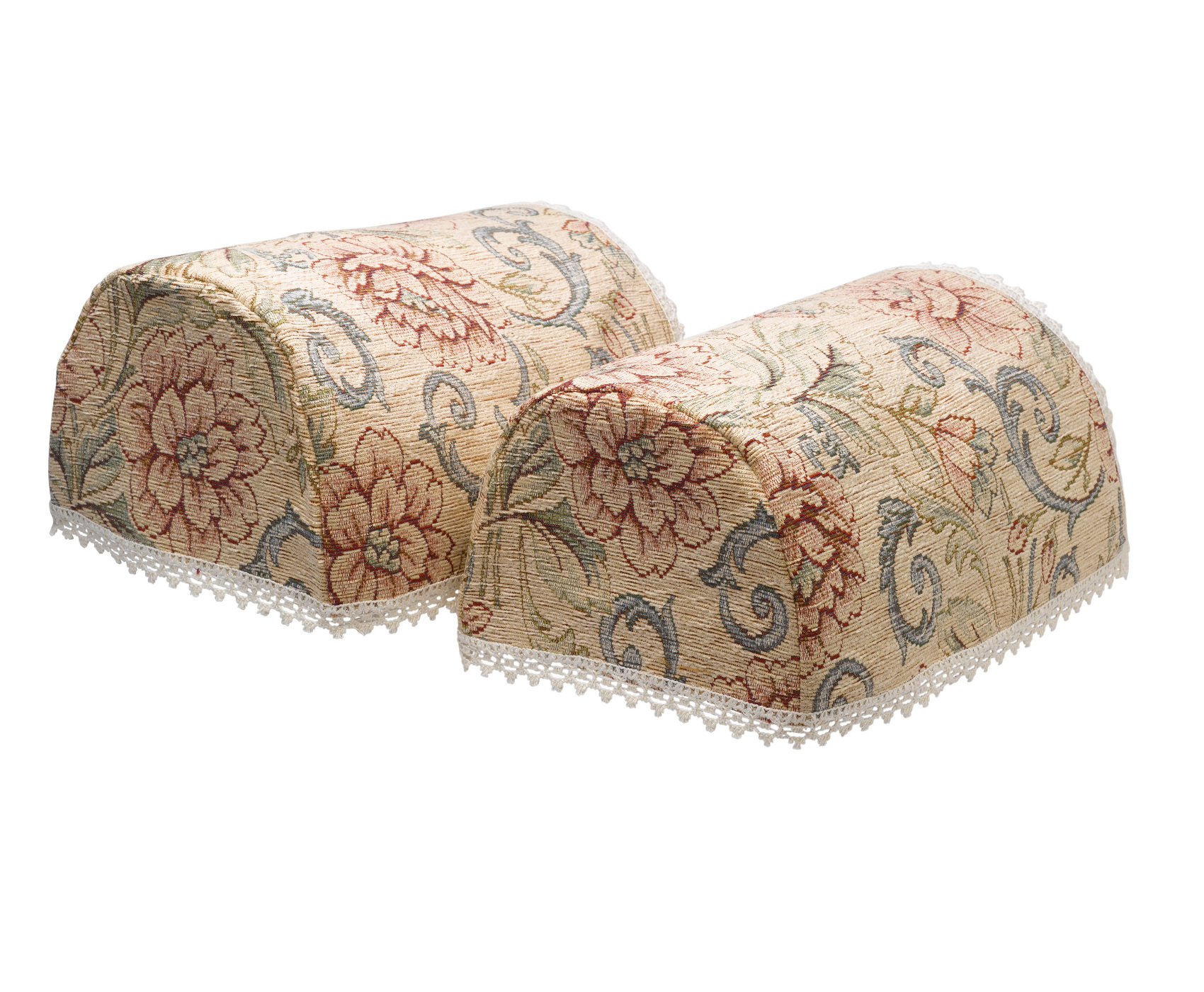 Details About Round Arm Caps Pair Pink Flower Traditional Tapestry Sofa  Chair Cover Lace Trim