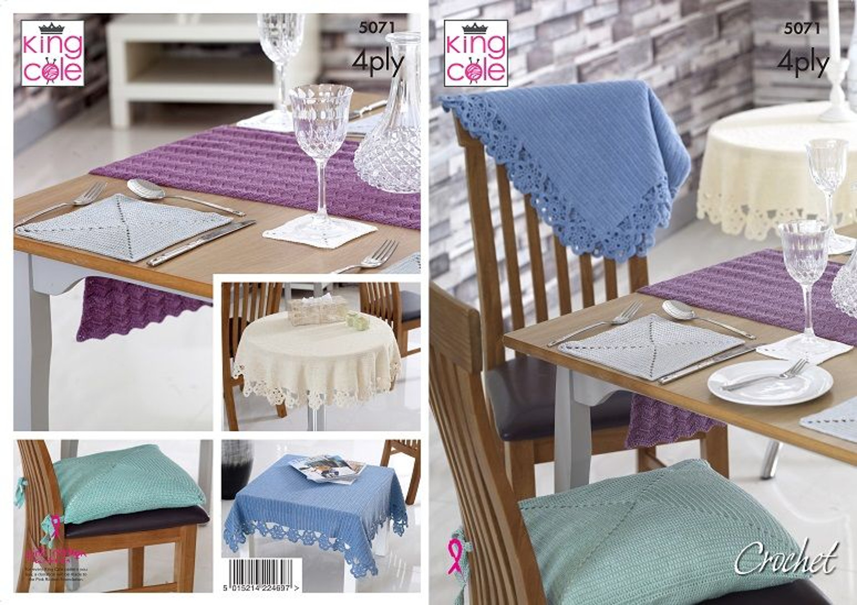 Table Linen 4 Ply Crochet Pattern Tablecloth Mat Runner Seat Pads King Cole 5071
