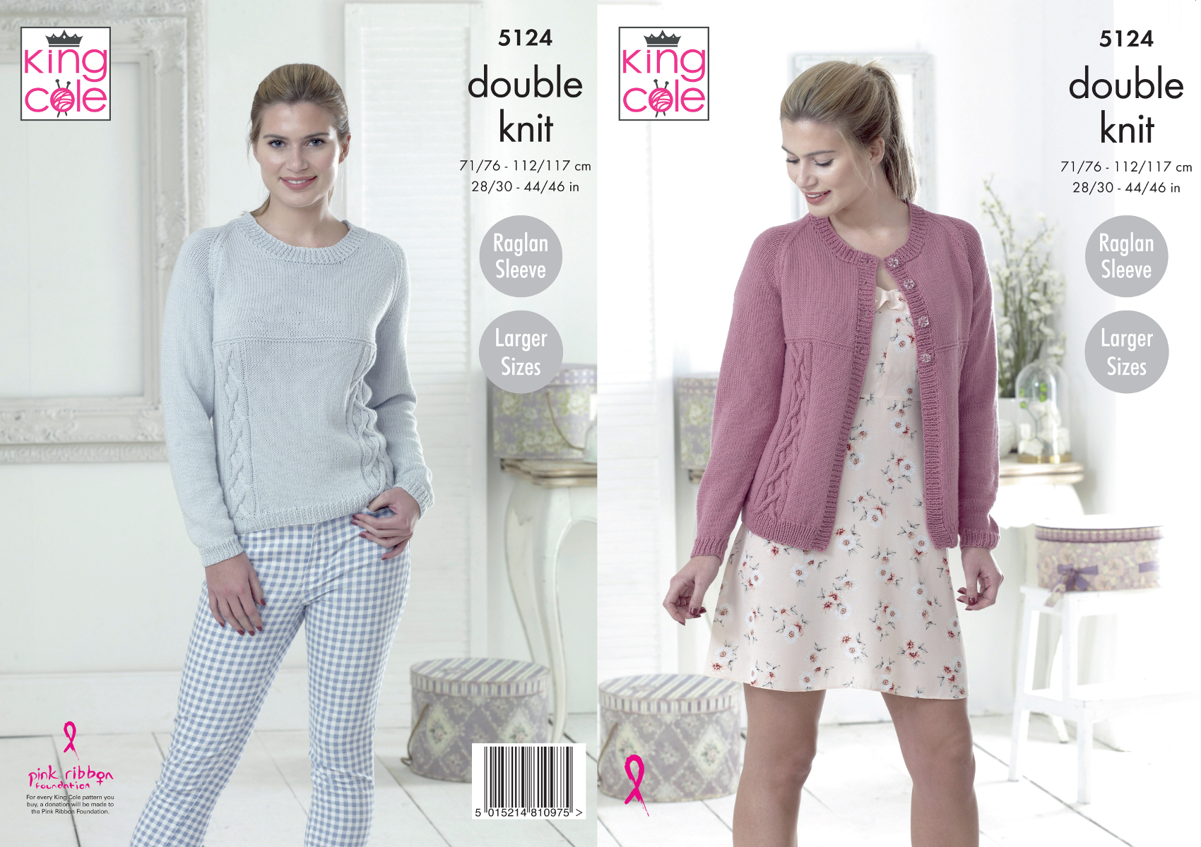 47e16f5102eda King Cole Ladies Double Knitting Pattern Raglan Sleeve Cardigan ...