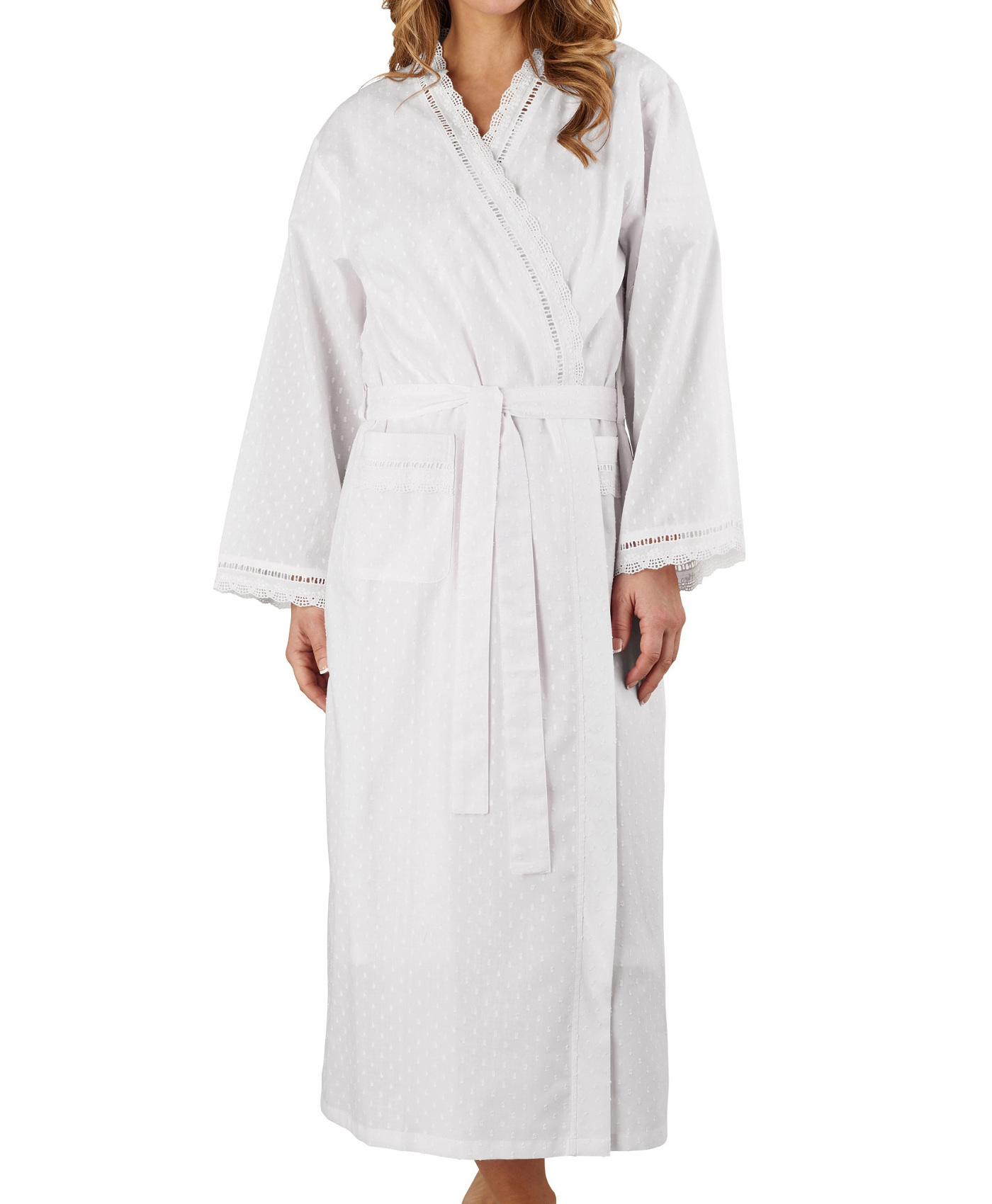 Bathrobe Womens Wrap Around Dobby Dot Robe 100% Cotton Lightweight ...