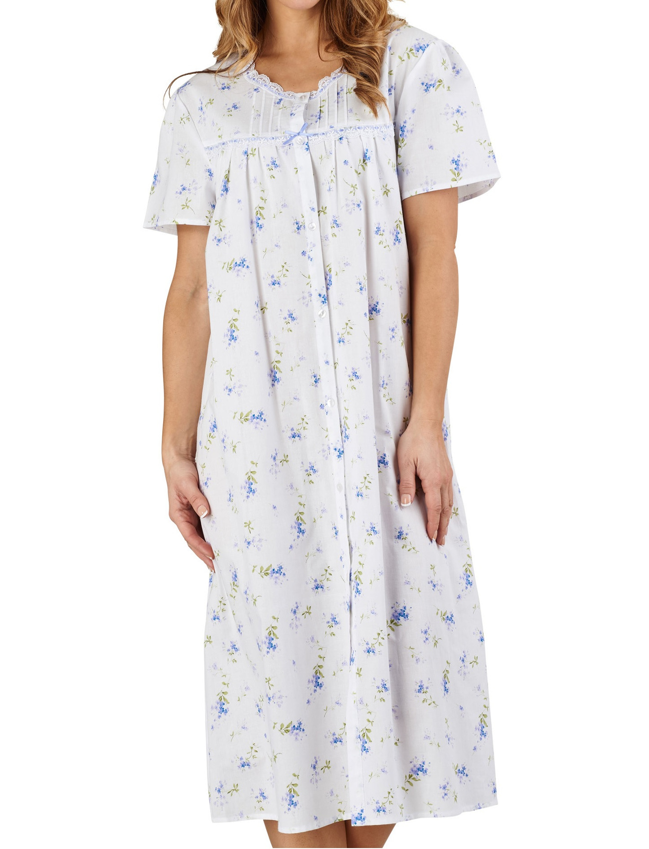 3a193688f1a2 These ladies button through nightdresses by Slenderella have a floral  pattern throughout with short sleeves and lace trim and would be perfect  for keeping ...