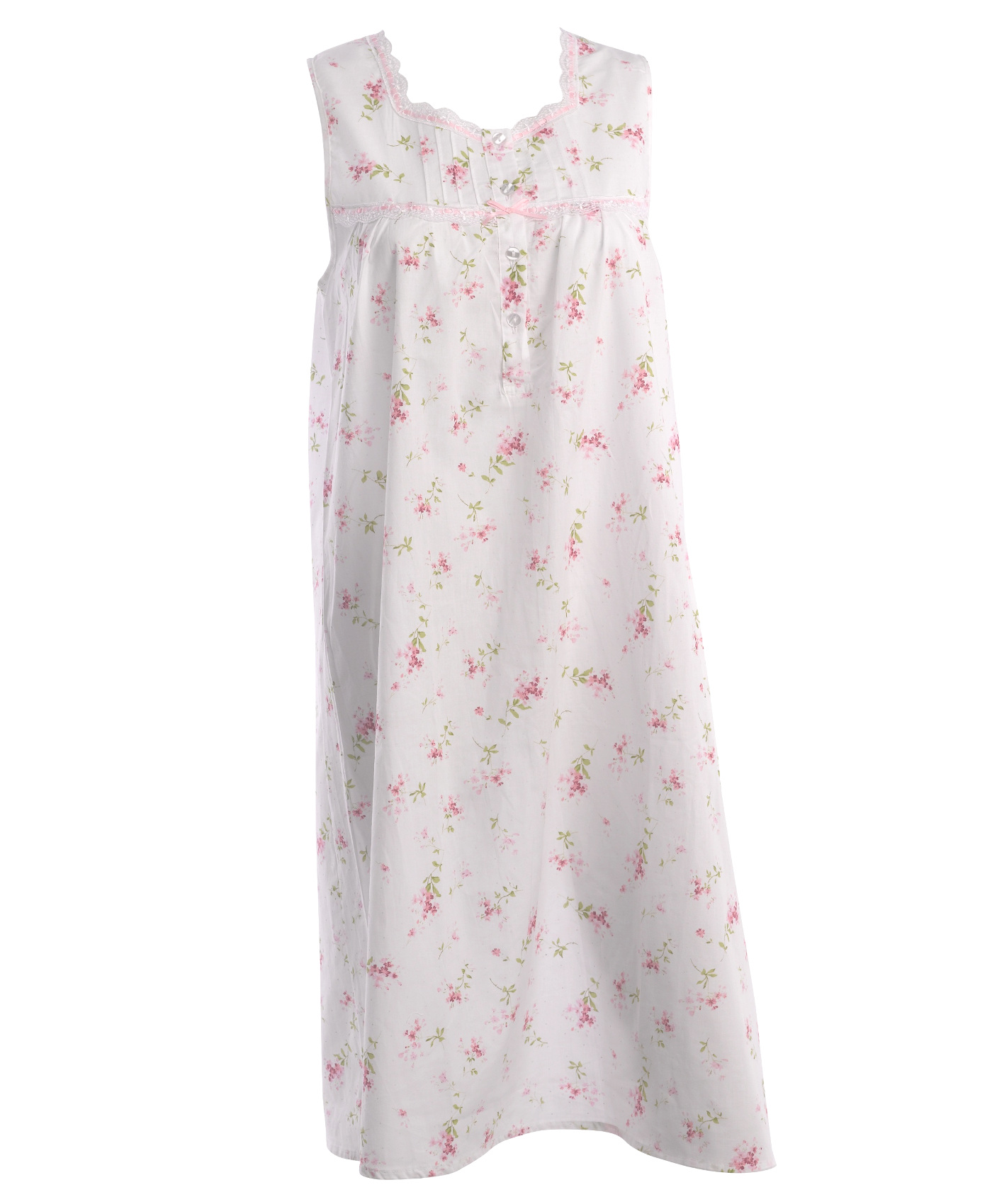 These ladies sleeveless nightdresses by Slenderella have a floral pattern  throughout with lace trim and would be perfect for keeping you cool during  the ... 1718f4cf8