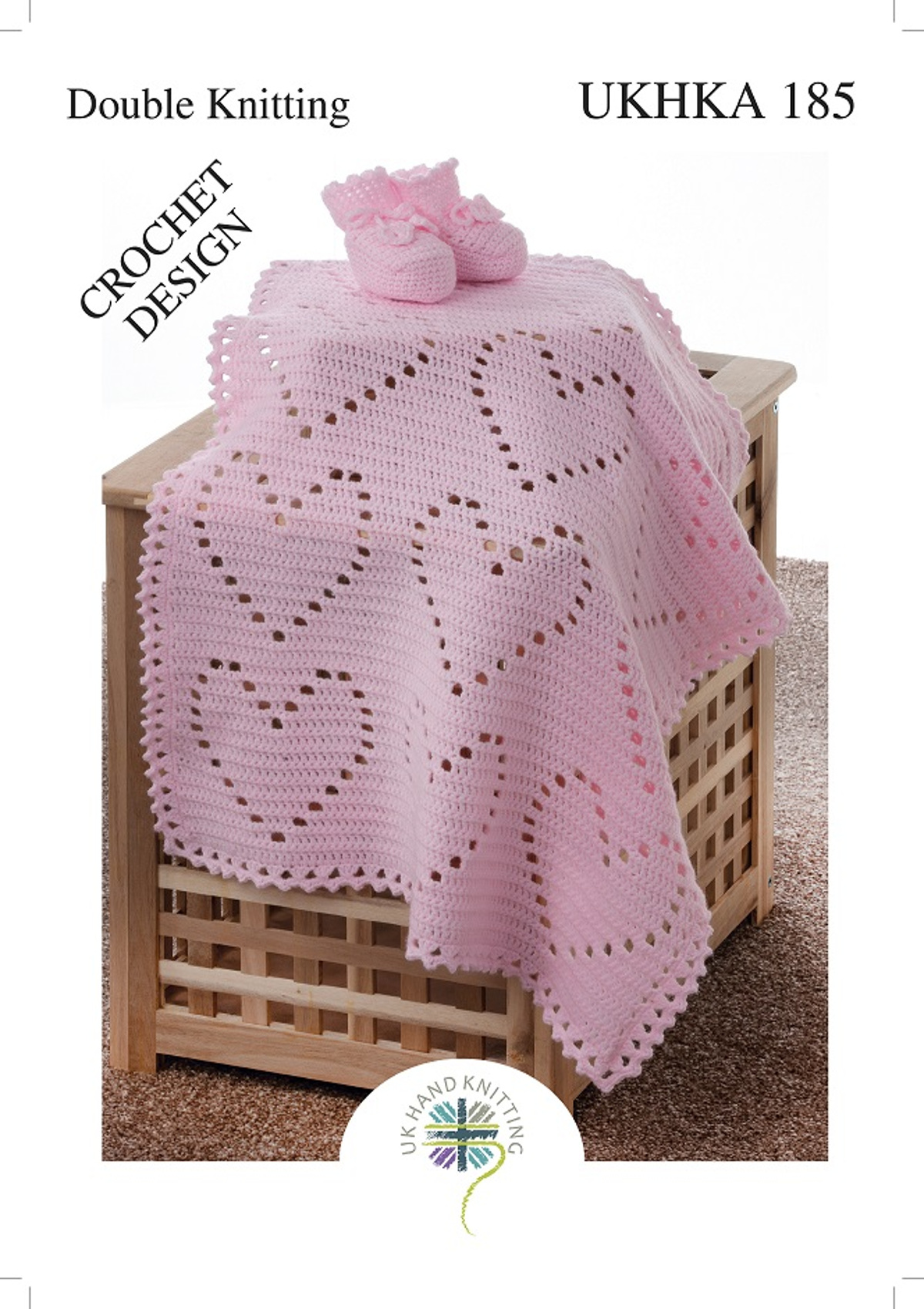 4f1a17e6f67b UKHKA 185 Baby Double Knit Crochet Pattern for Heart Pattern Blanket ...