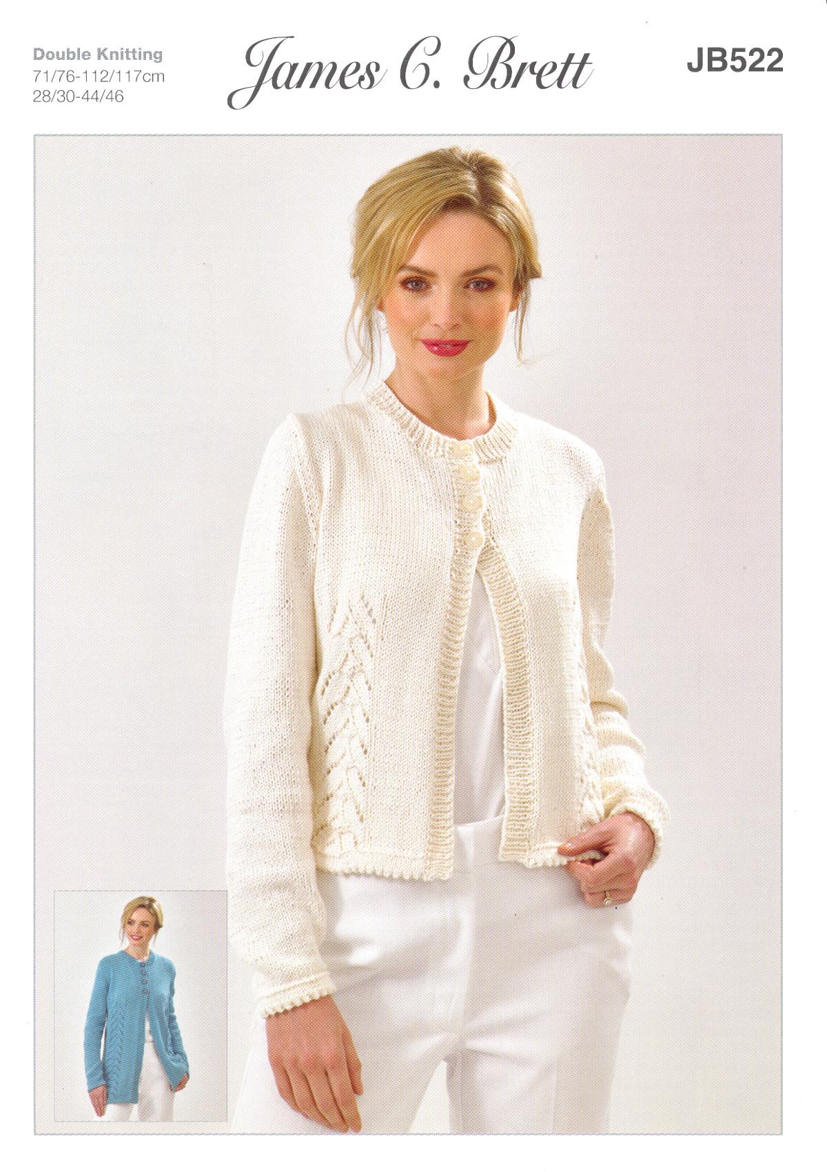fe12414bd Details about James Brett Womens Knitting Pattern Glisten DK Long or Short Lace  Cardigan JB522