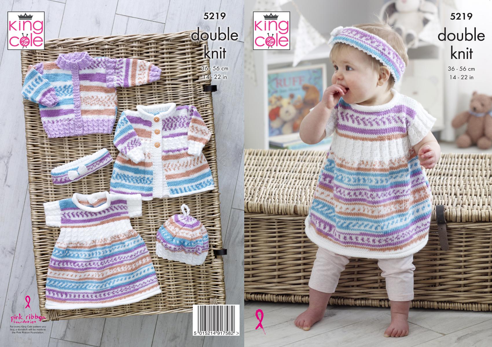 c9f7ce0b4cb37 King Cole Baby Double Knitting Pattern Cardigan Dress Coat Beret ...