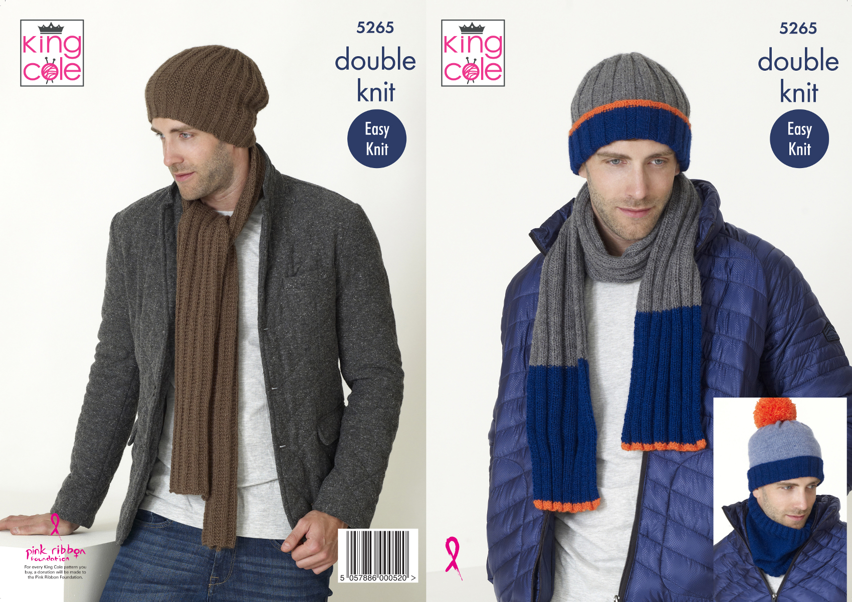 Mens Accessories Double Knitting Pattern Hats Scarf Snood King Cole