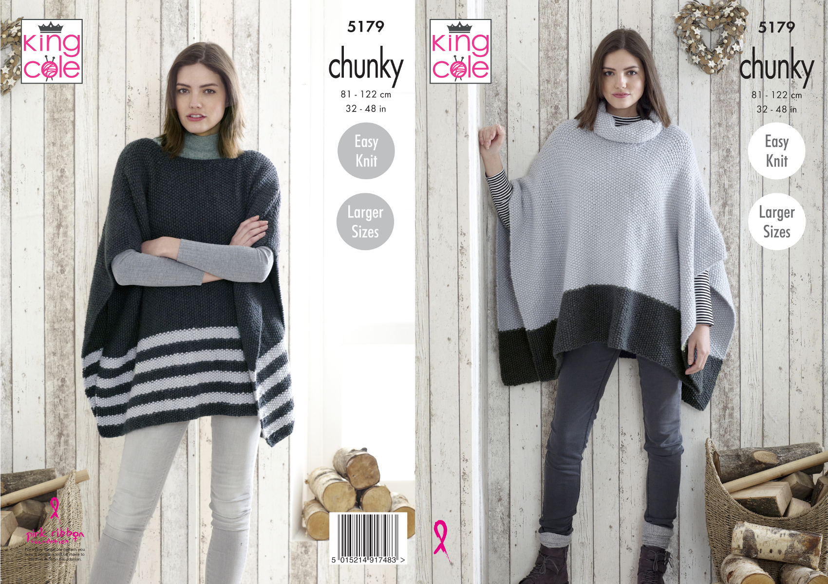 Details about King Cole Ladies Chunky Knitting Pattern Easy Knit Boat or  Cowl Neck Poncho 5179