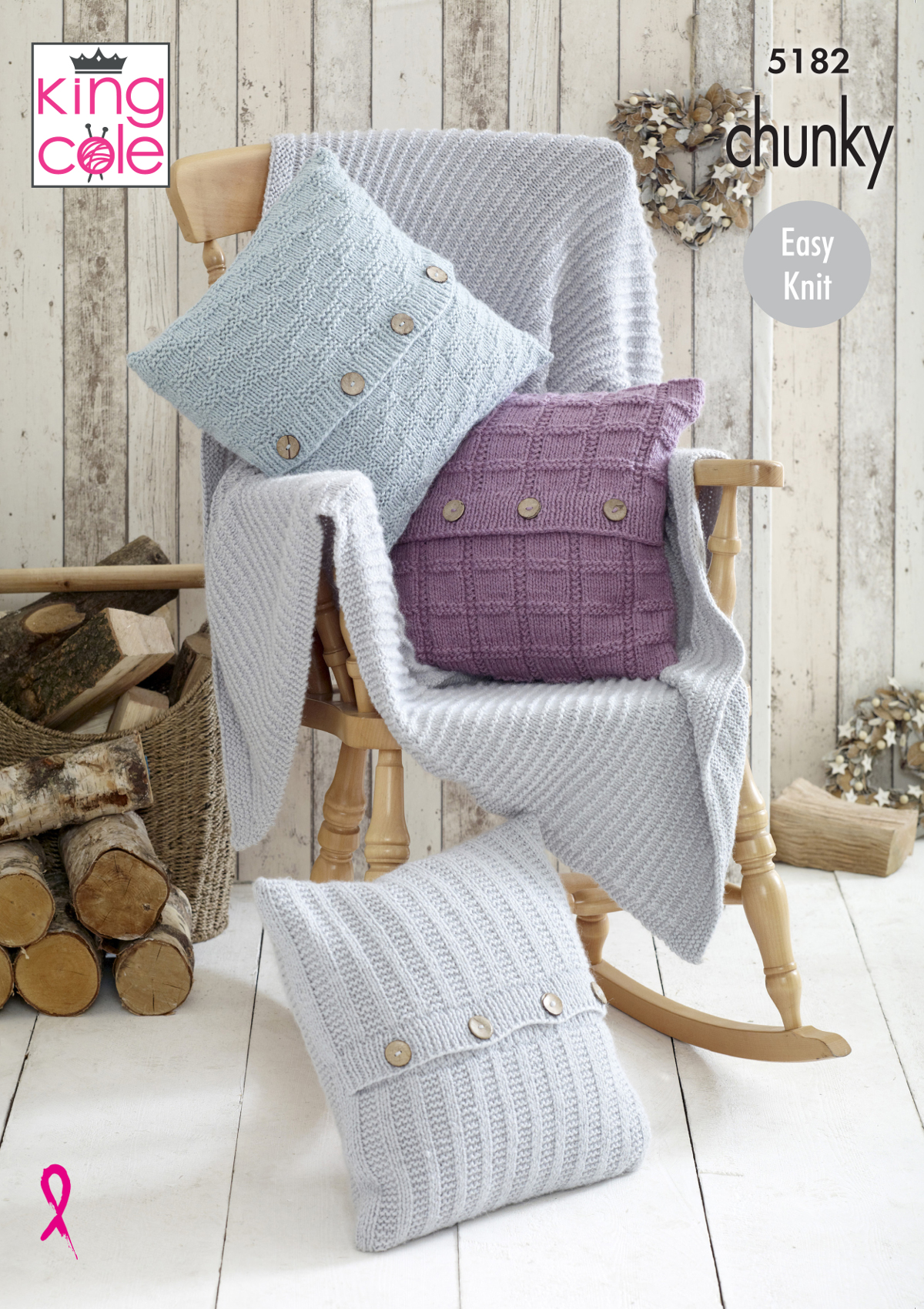 Knitting Pattern for Blanket Throw /& Cushion Covers King Cole Super Chunky 4873