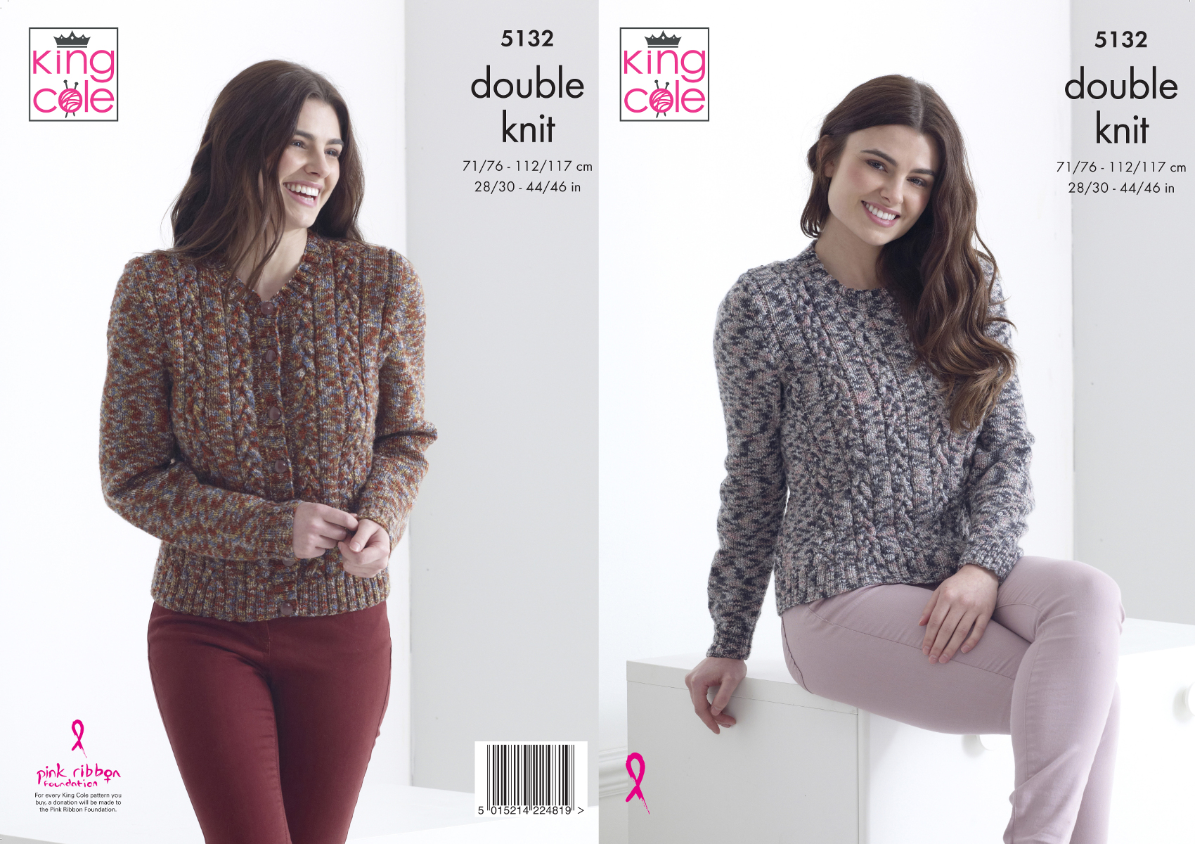 King Cole Ladies Double Knitting Pattern Womens Cable Knit Cardigan /& Top 5041