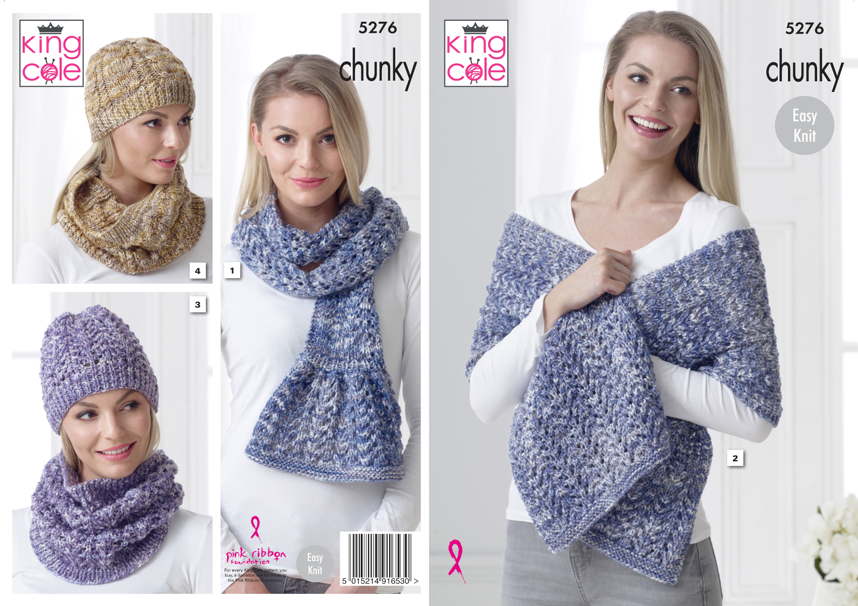 KNITTING PATTERN Ladies Jumper Cowl Hat Scarf Mittens Riot Chunky King Cole 5411