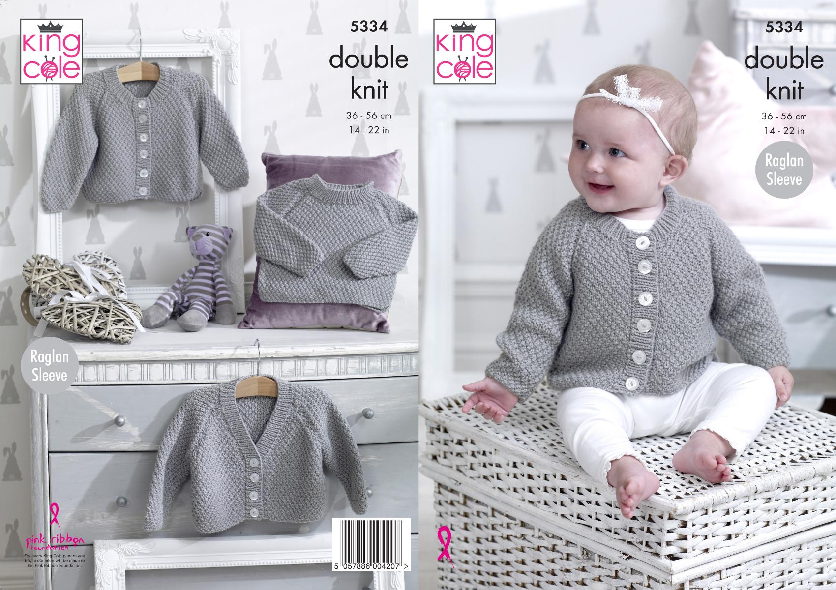 Baby DK Double Knitting Pattern Raglan Sleeve Cardigans /& Sweater King Cole 5334
