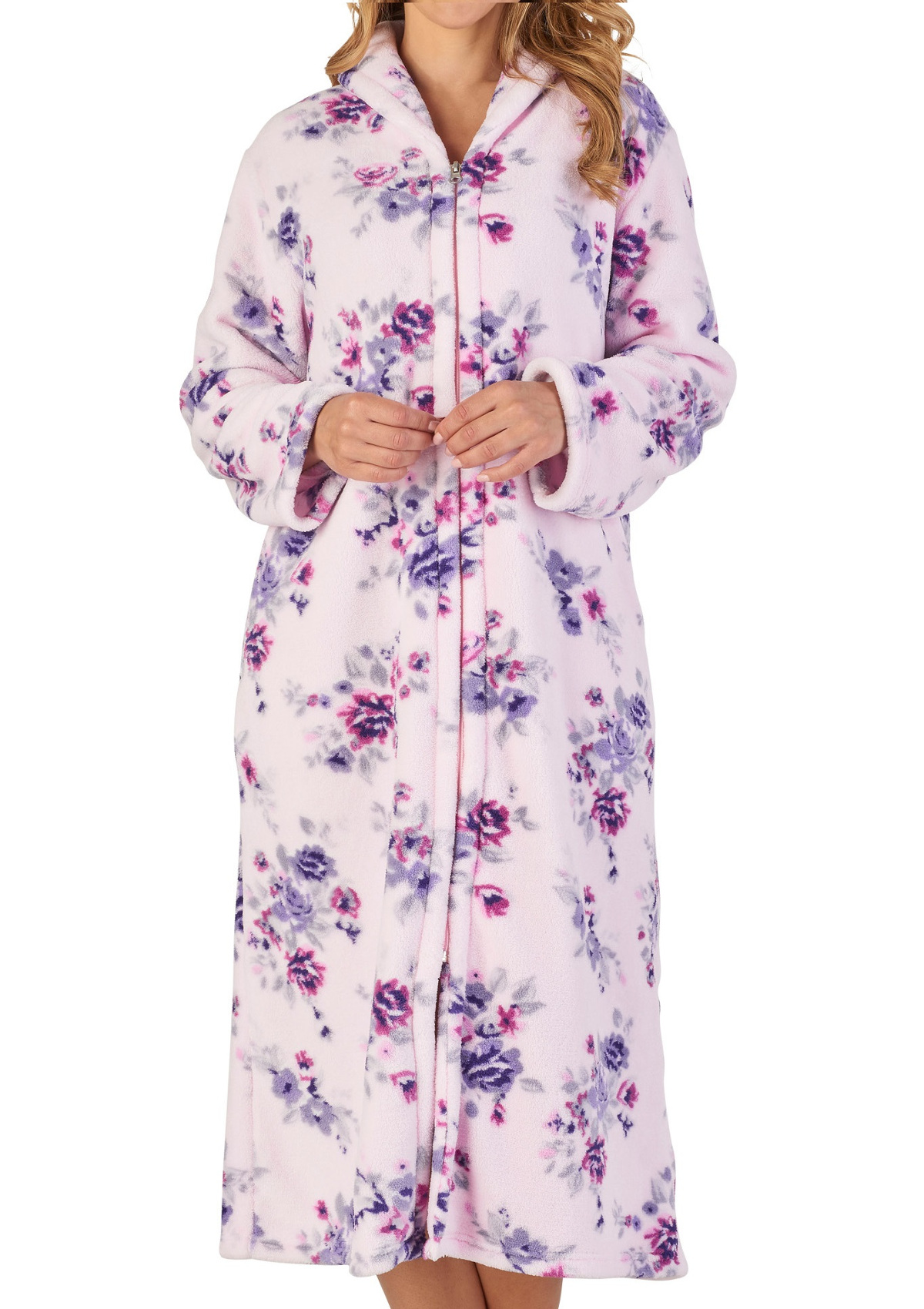 Dressing Gown Womens Floral Zip Up Soft Fleece Bathrobe Slenderella  Housecoat cc8117003