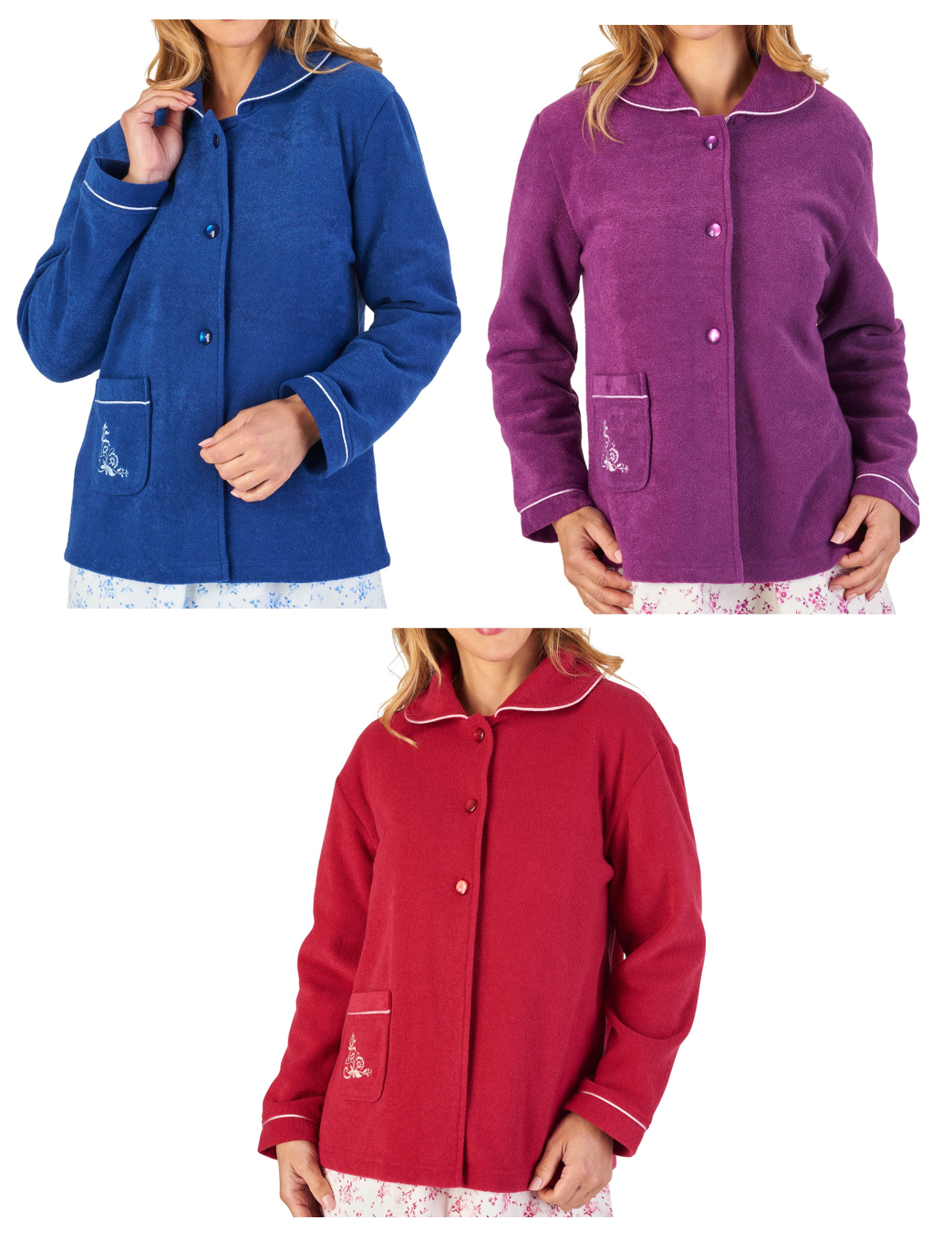 These ladies soft boucle fleece bed jackets by Slenderella are a button up  style with a collar 40bb9625e