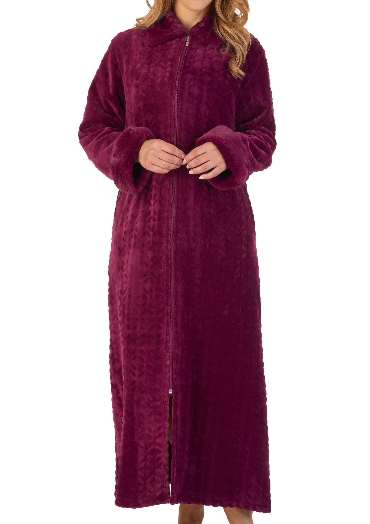 Dressing Gown Ladies Faux Fur Trim Zip Up Fleecy Bathrobe