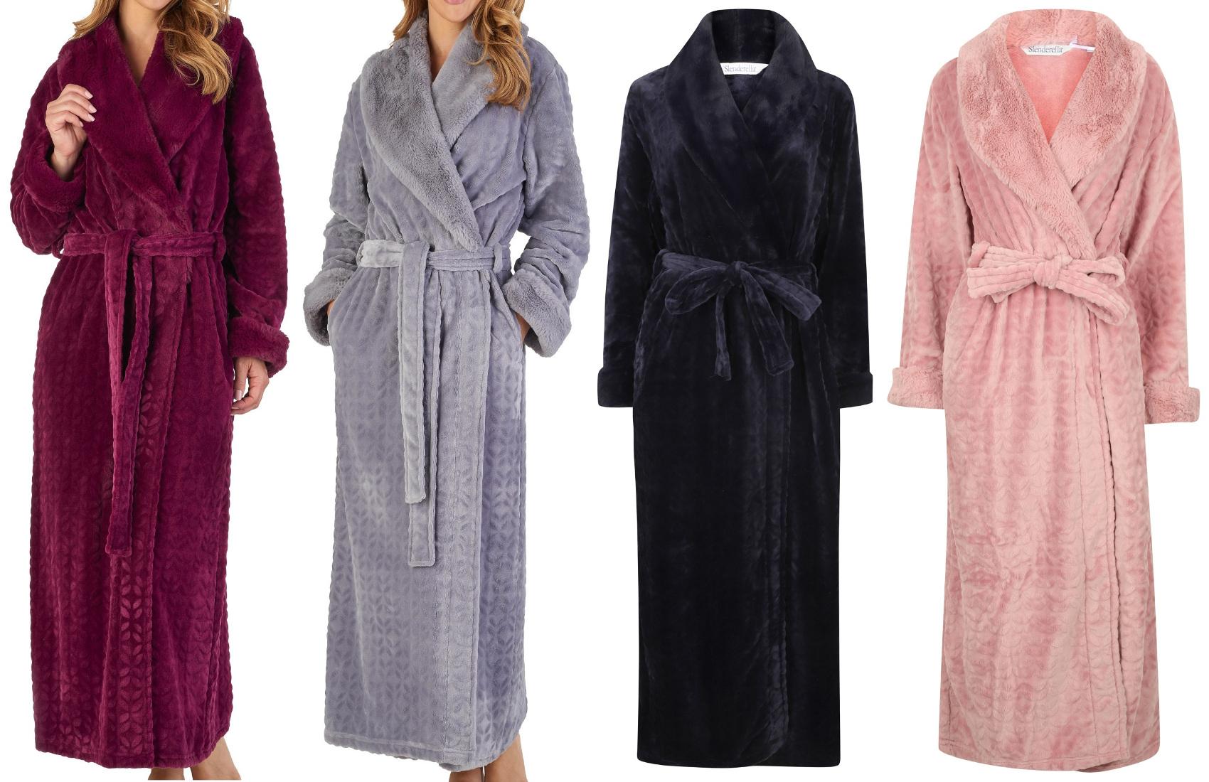 Dressing Gown Ladies Bathrobe Faux Fur Shawl Collar Wrap Bathrobe  Slenderella c3c693385