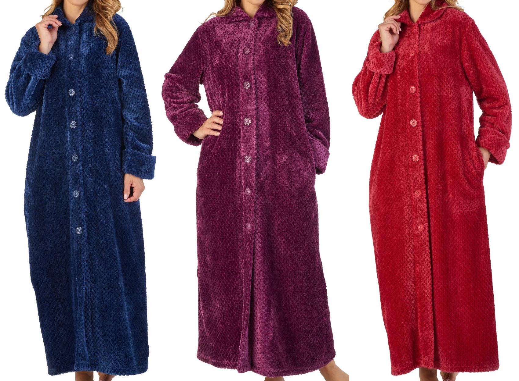 5fad4009c8 Dressing Gown Ladies Button Up Waffle Flannel Fleece Slenderella Nightwear  Robe