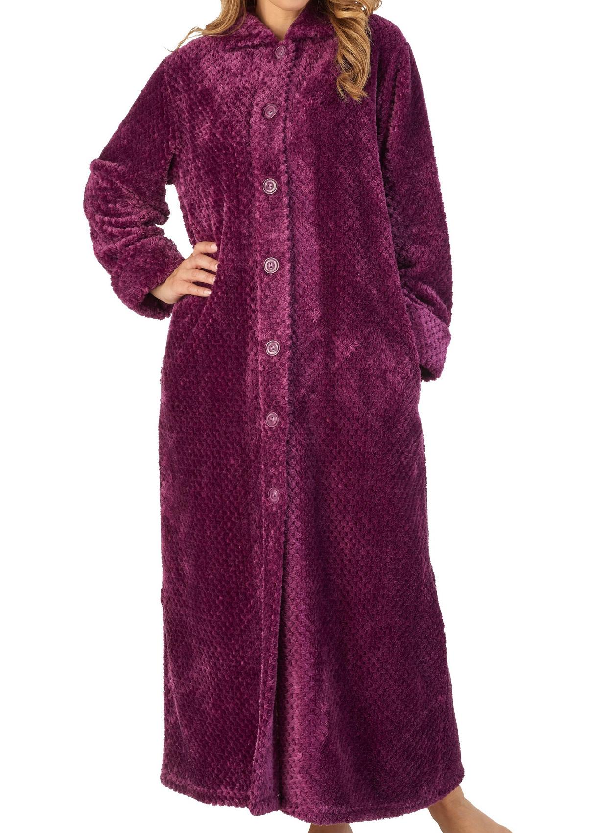 Robe de Chambre Femme Boutonné Luxe Waffle Polaire Slenderella Nightwear Robe