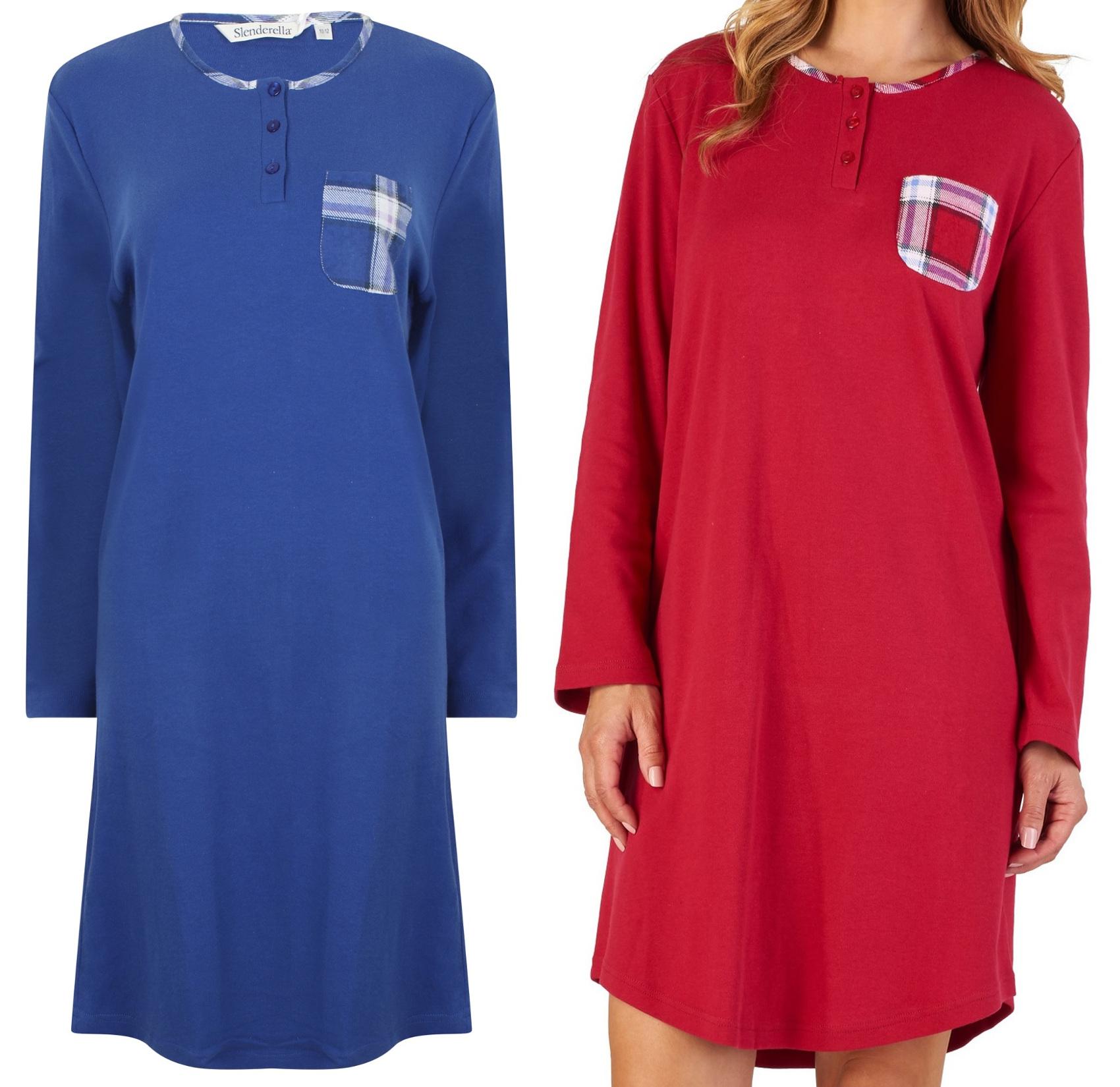 Nightdress Womens Slenderella Soft Jersey Cotton Tartan Trim Nightwear  Nighty eea12d8bf