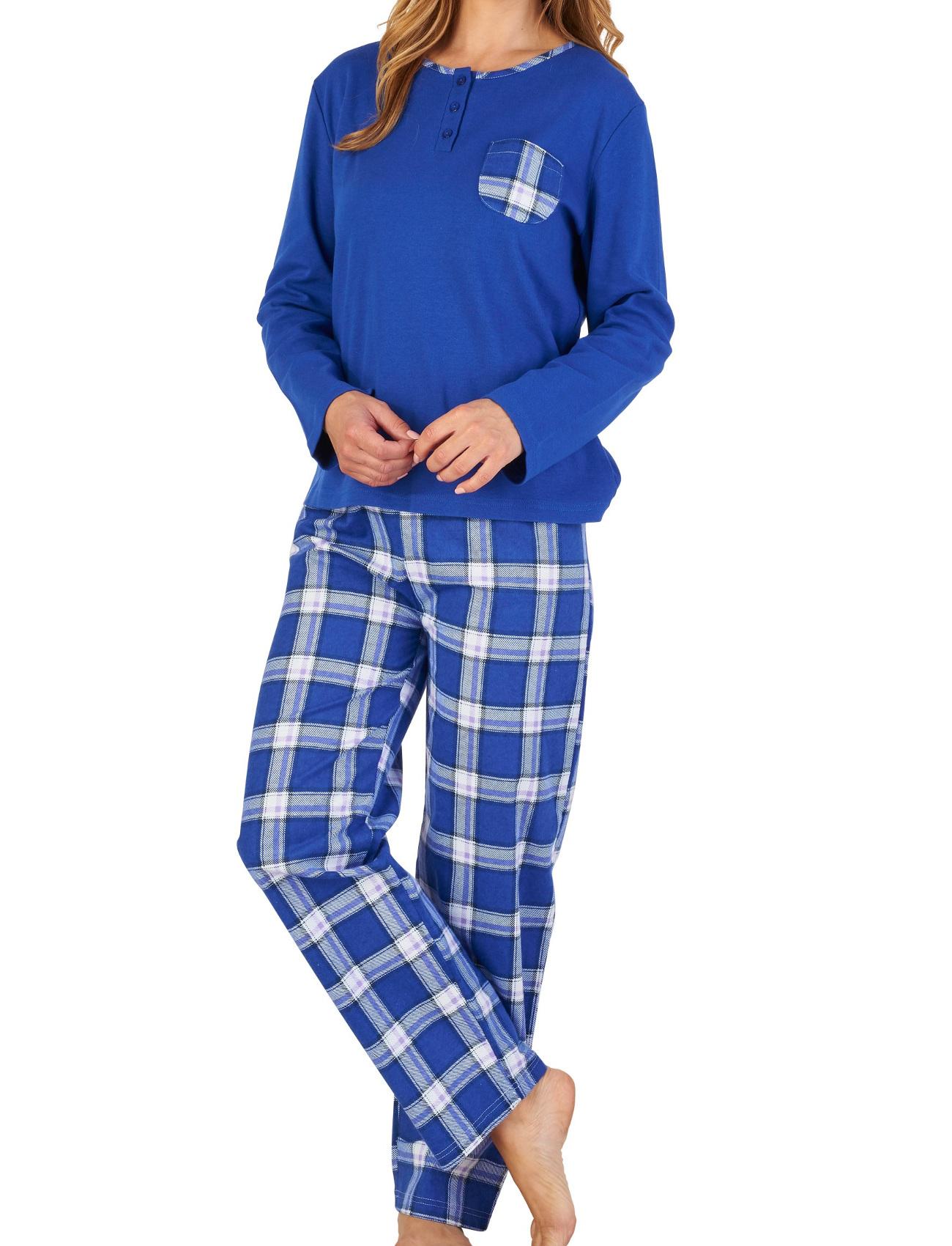 47099d5c7f6f5 Femmes Slenderella Coton Écossais Pyjama Uni Haut Jersey & à ...