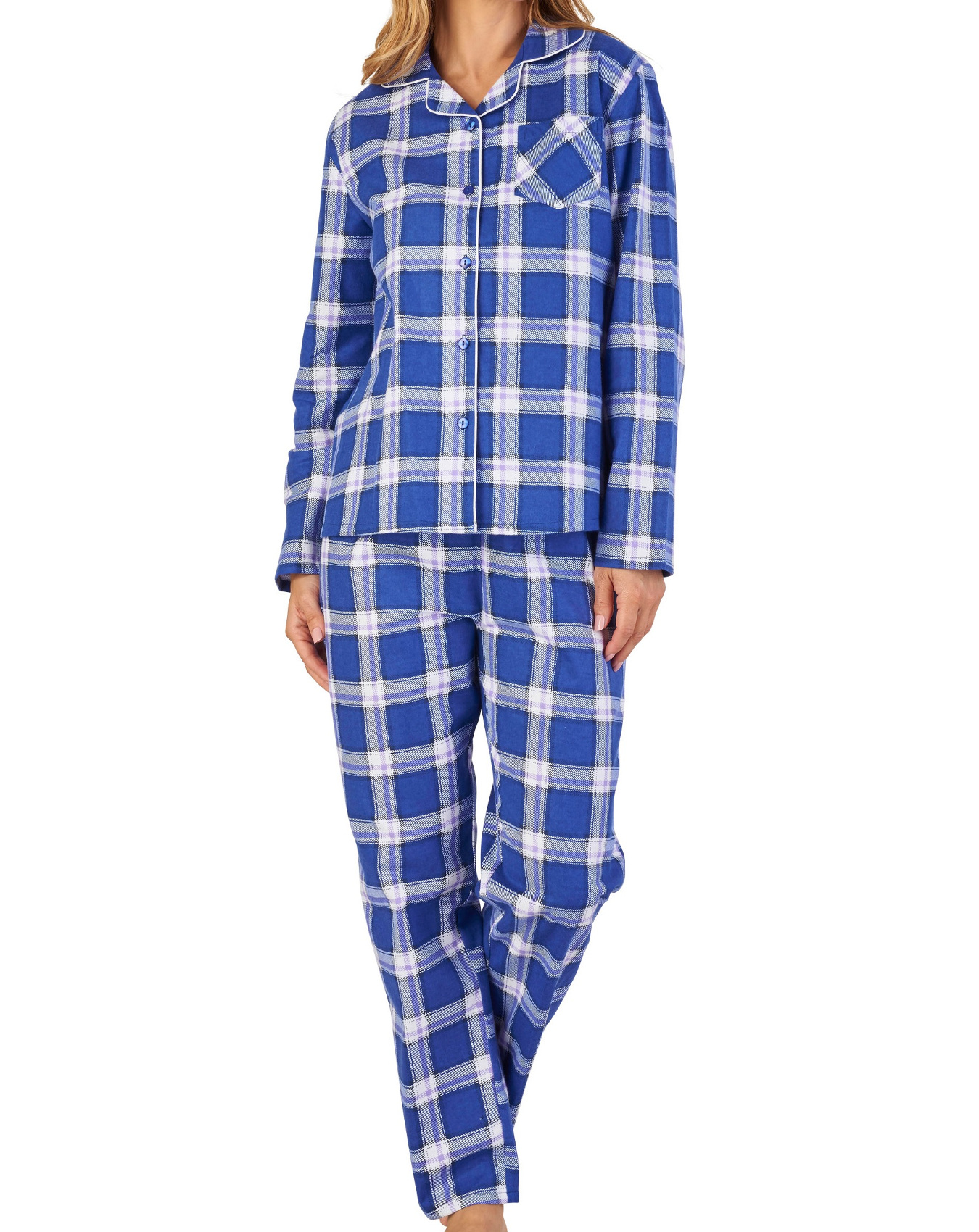 Pyjamas Womens Slenderella Soft Flannel Cotton PJs Set ...