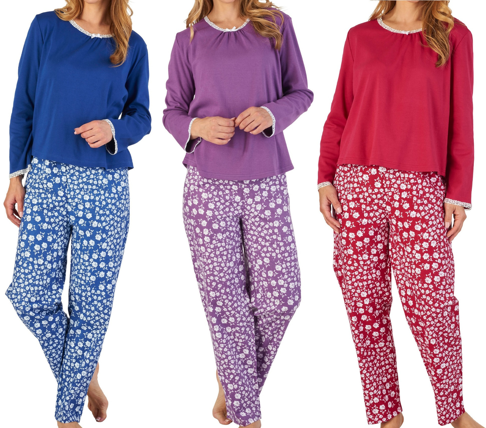 Raspberry Slenderella Floral Print Pyjama Set Cotton Top and Flannel Bottoms